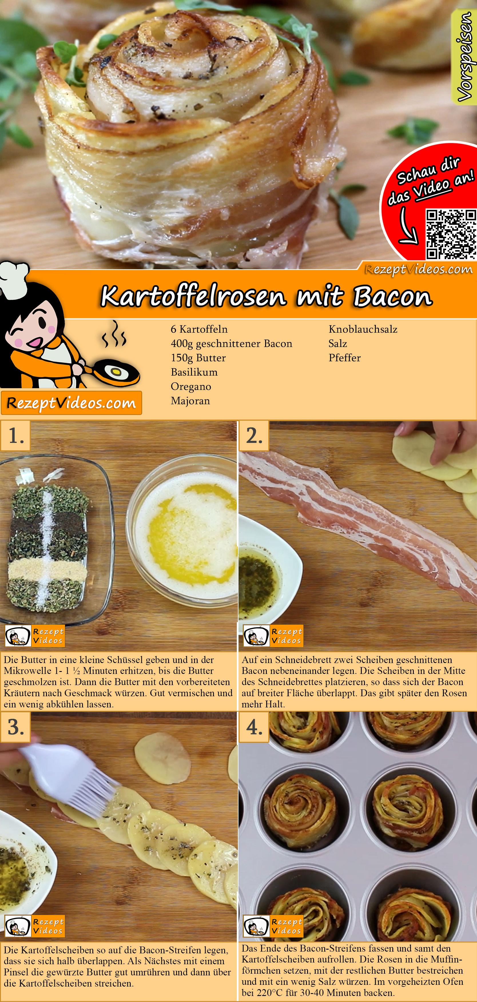 Kartoffelrosen mit Bacon Rezept mit Video