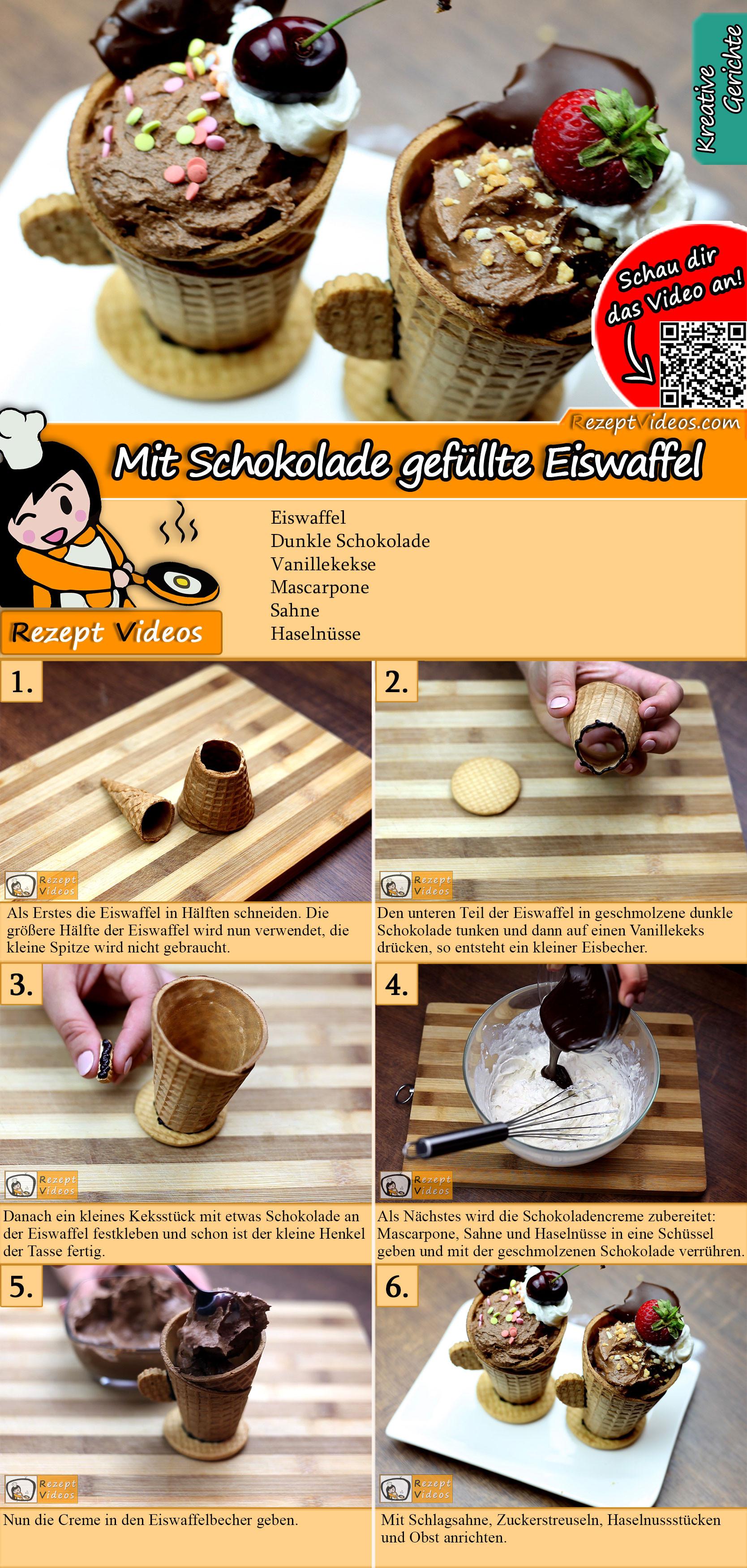 Mit Schokolade gefüllte Eiswaffel Rezept mit Video