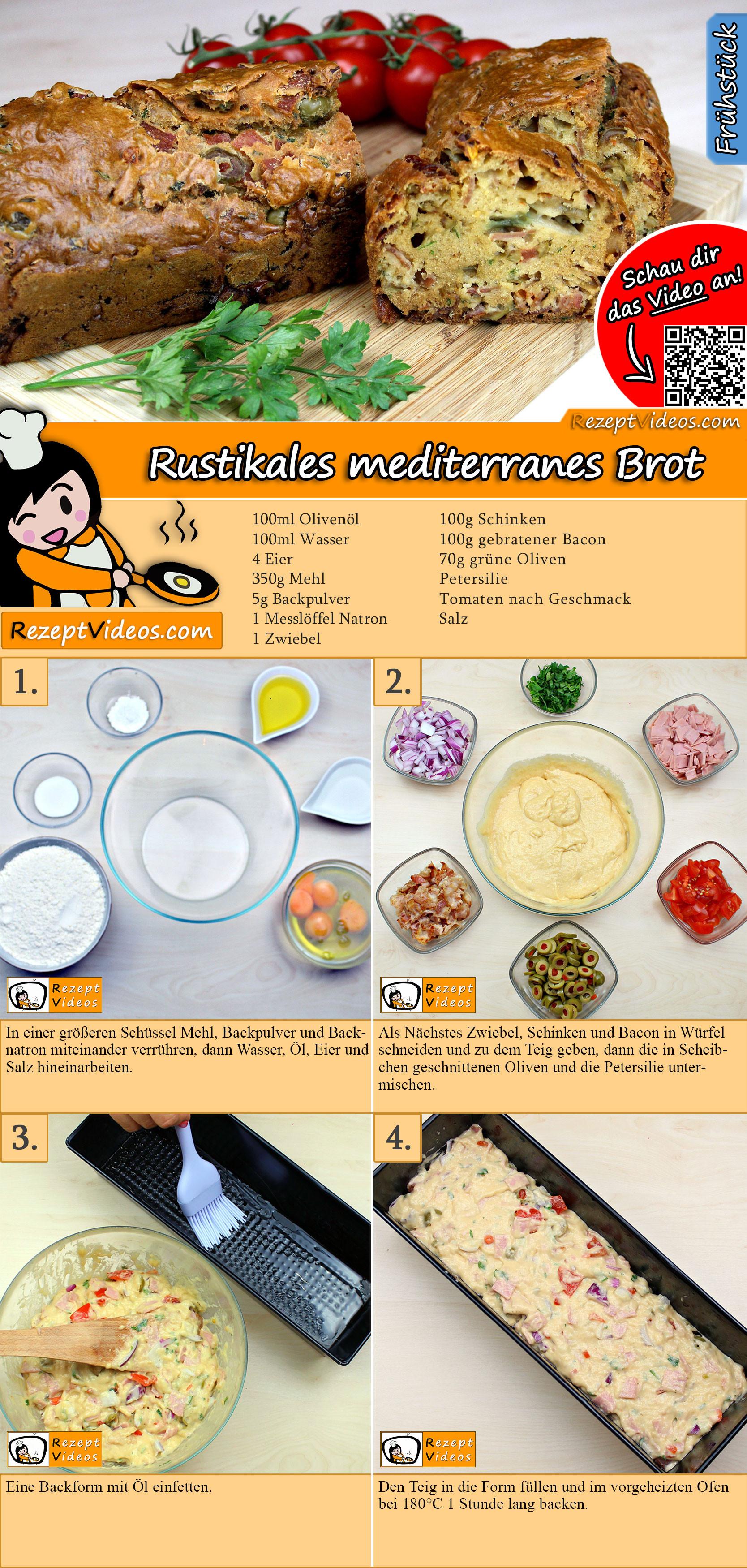 Rustikales mediterranes Brot Rezept mit Video