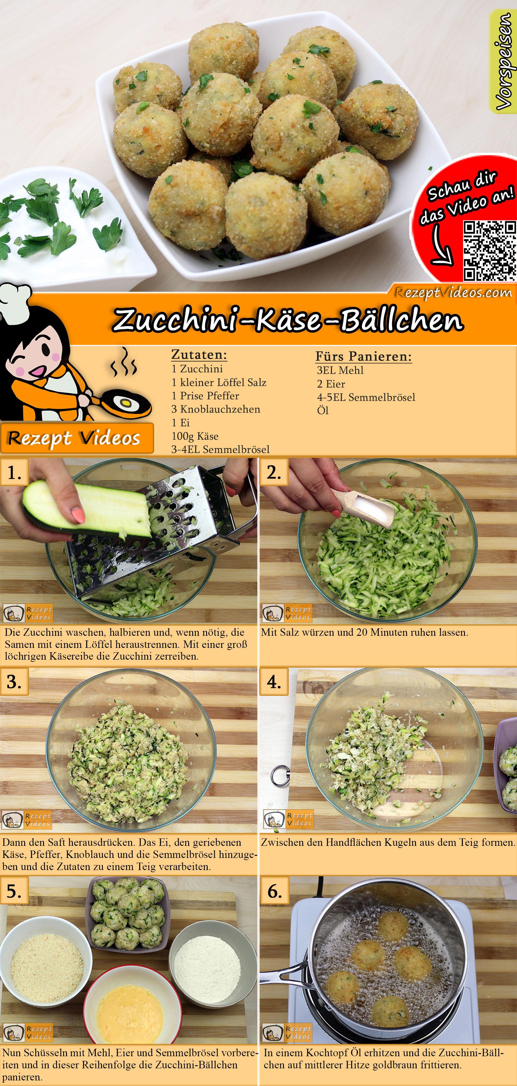 Zucchini-Käse-Bällchen Rezept mit Video