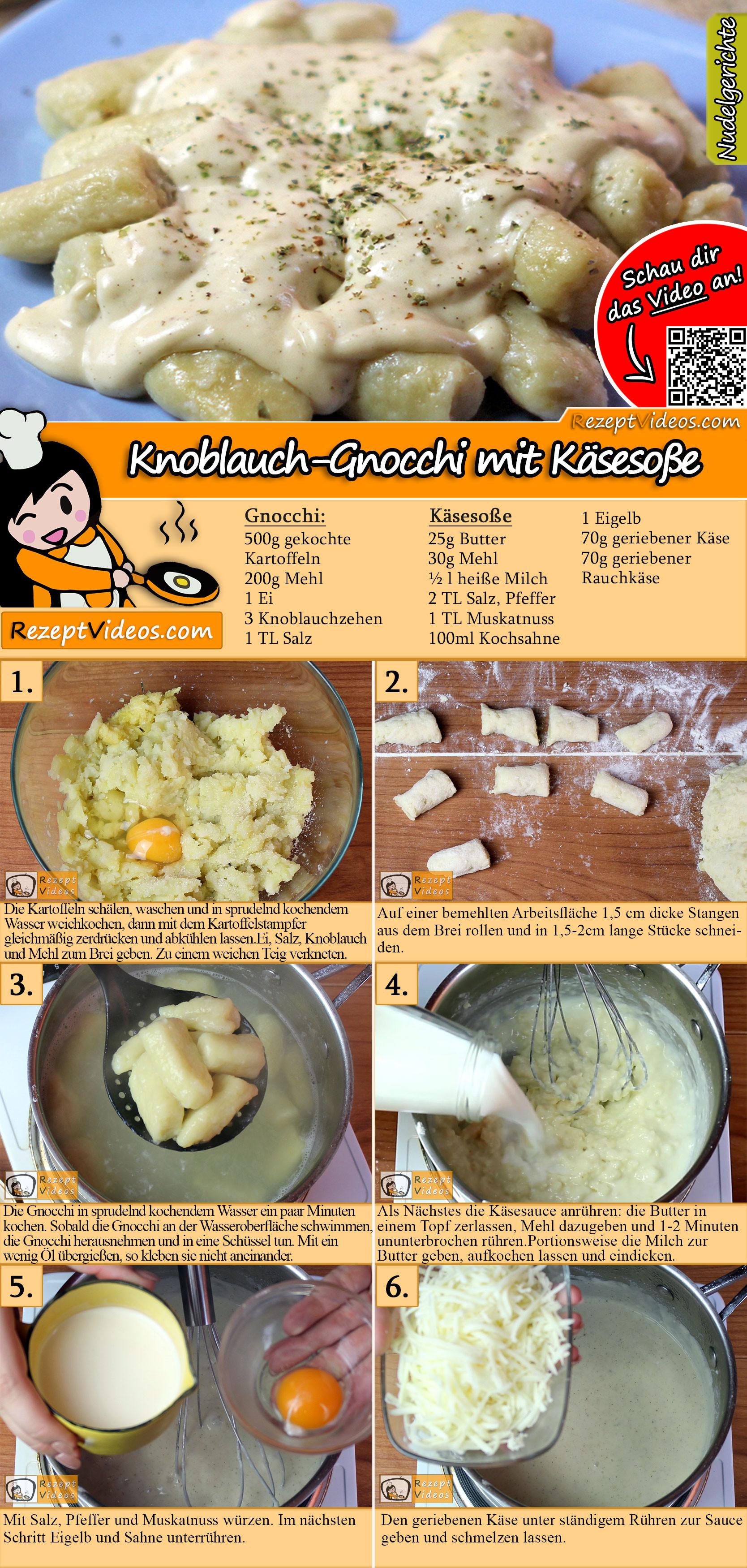 Knoblauch-Gnocchi mit Käsesoße Rezept mit Video