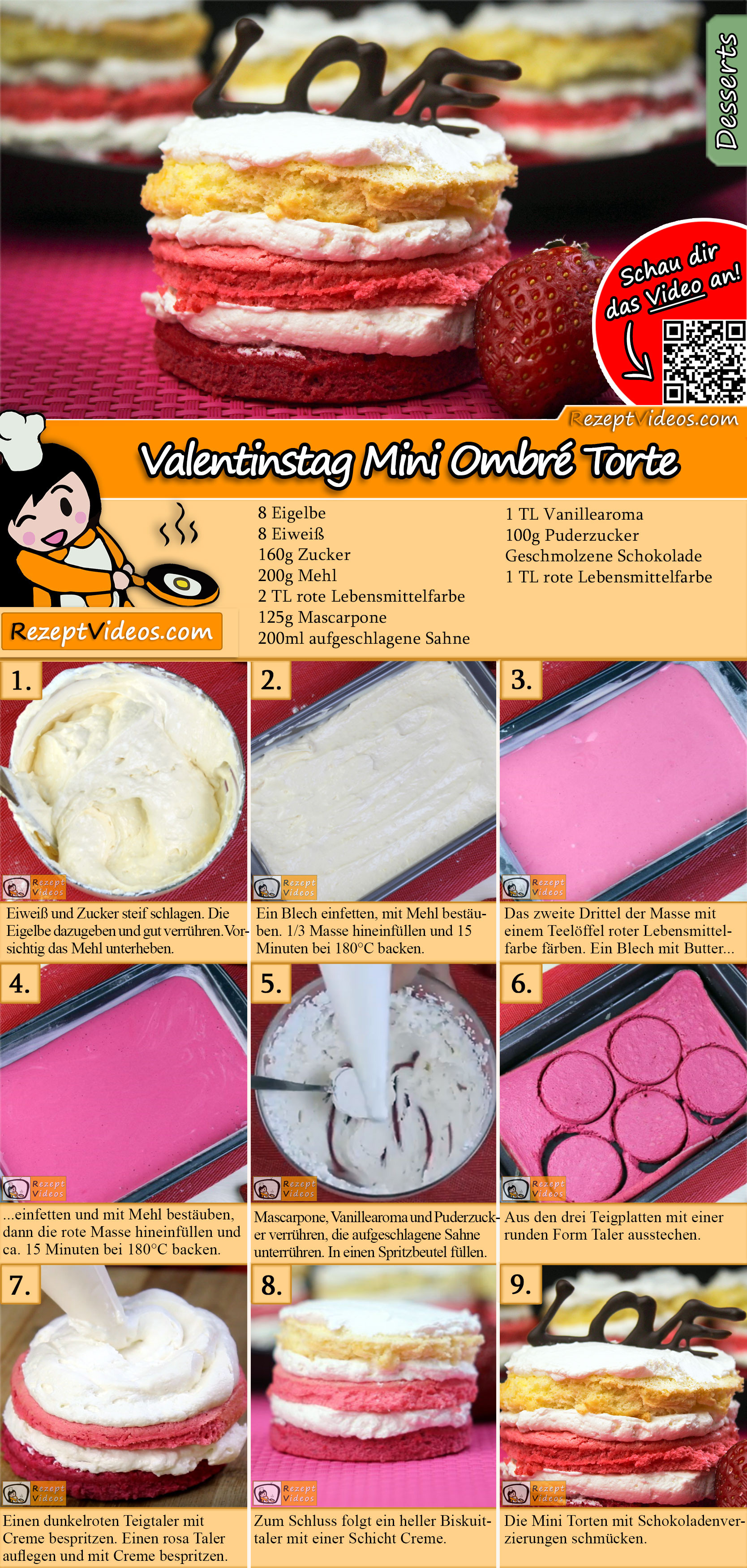 Valentinstag Mini Ombré Torte Rezept mit Video