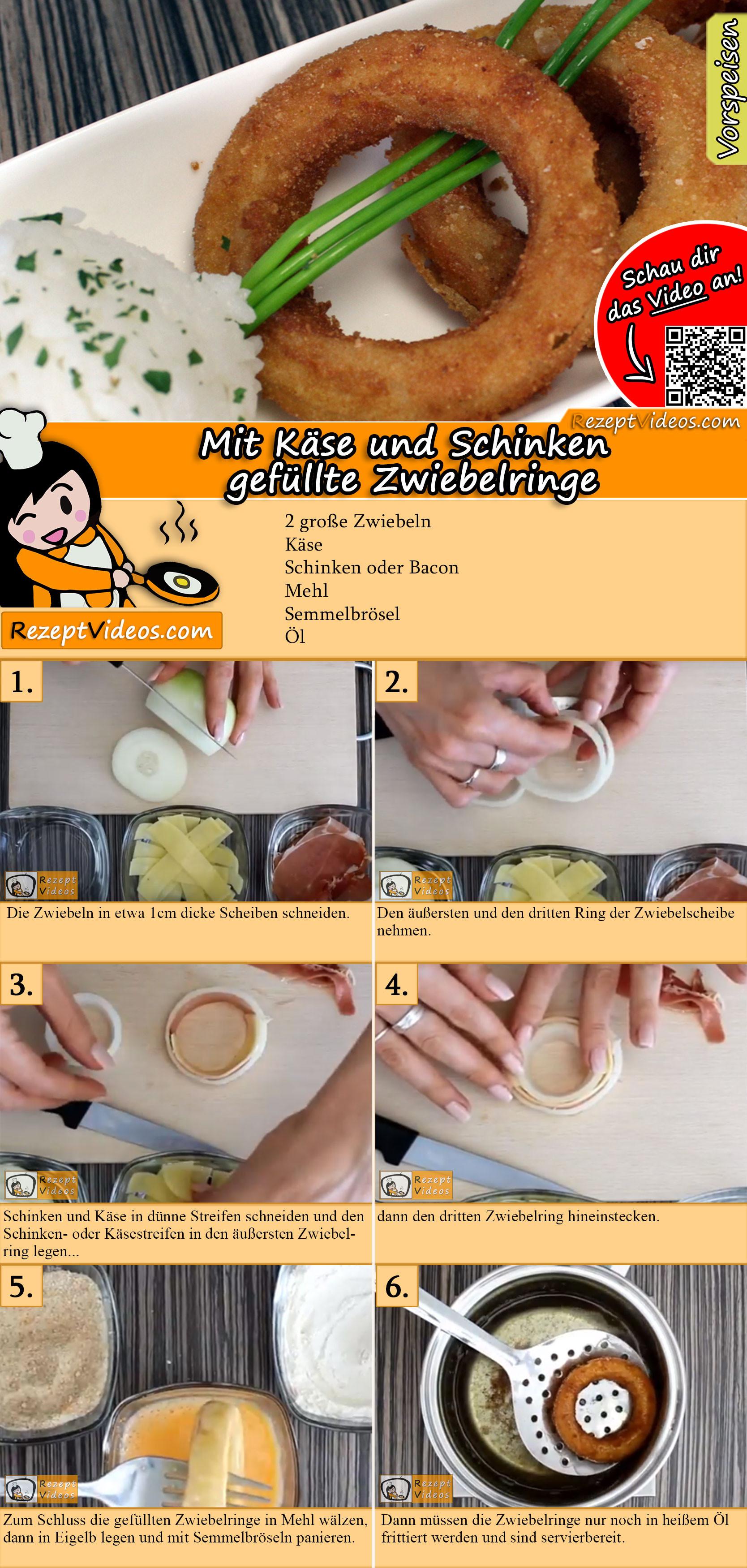 Mit Käse und Schinken gefüllte Zwiebelringe Rezept mit Video