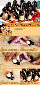 Pinguin-Fingerfood aus Mozzarella Rezept mit Video