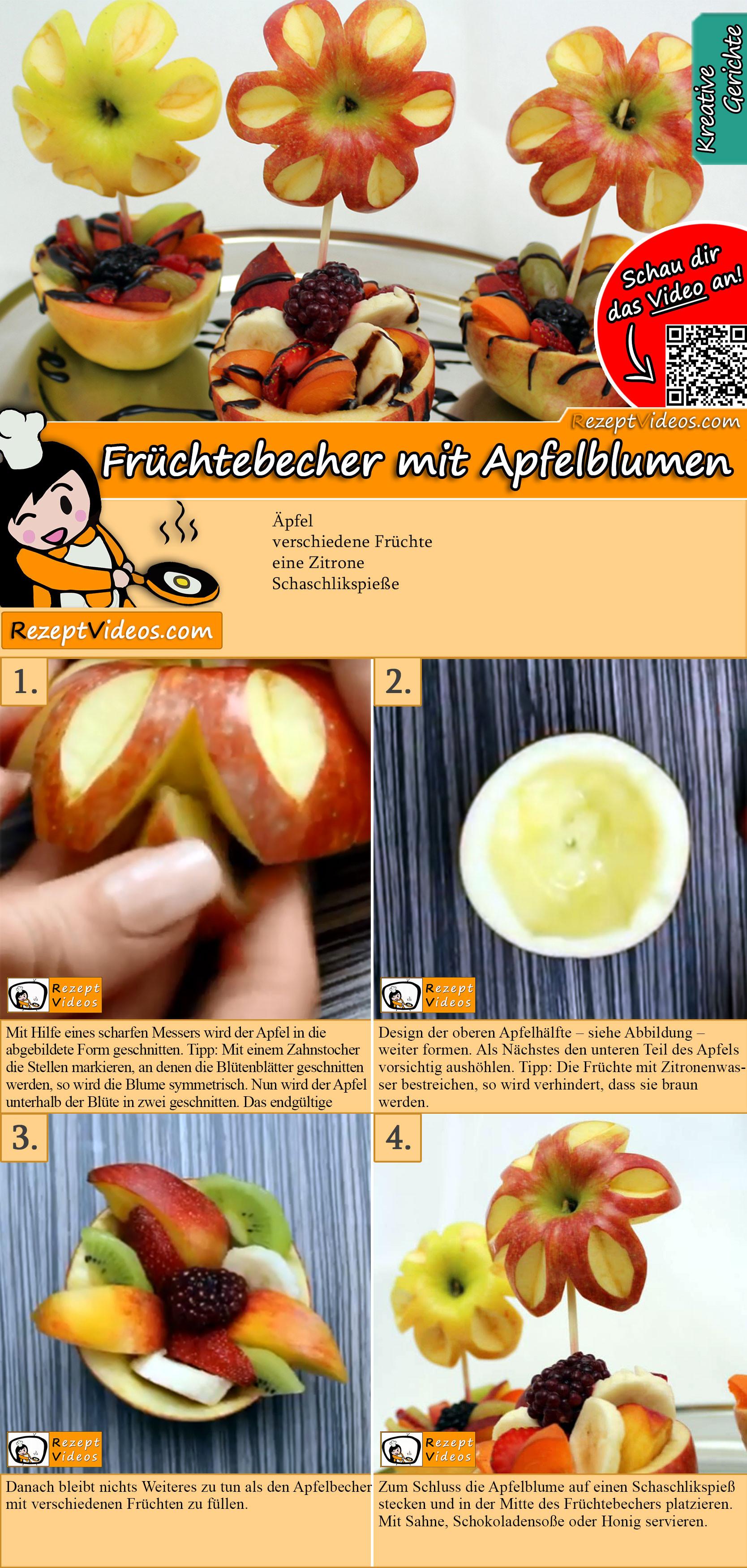 Früchtebecher mit Apfelblumen Rezept mit Video