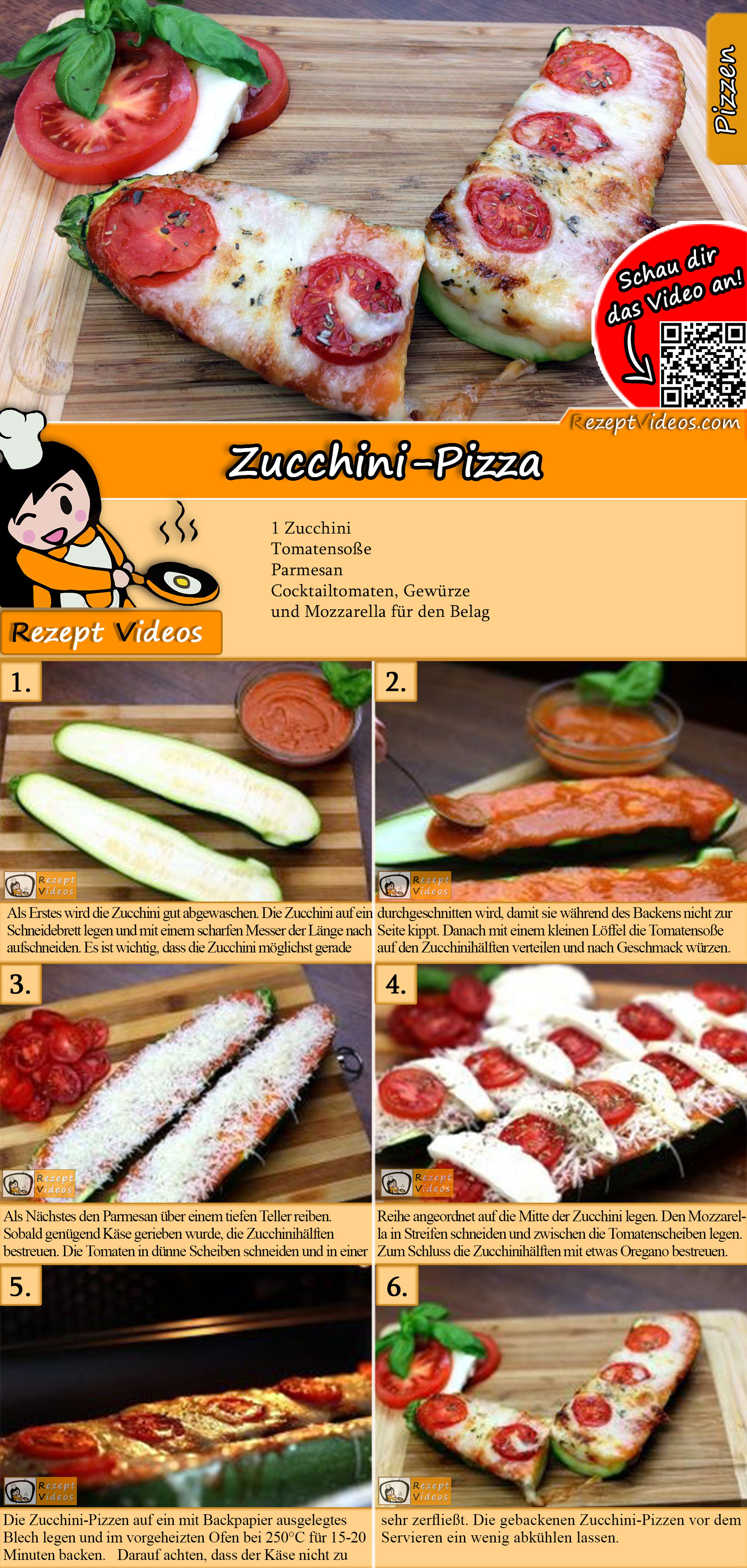Zucchini-Pizza Rezept mit Video