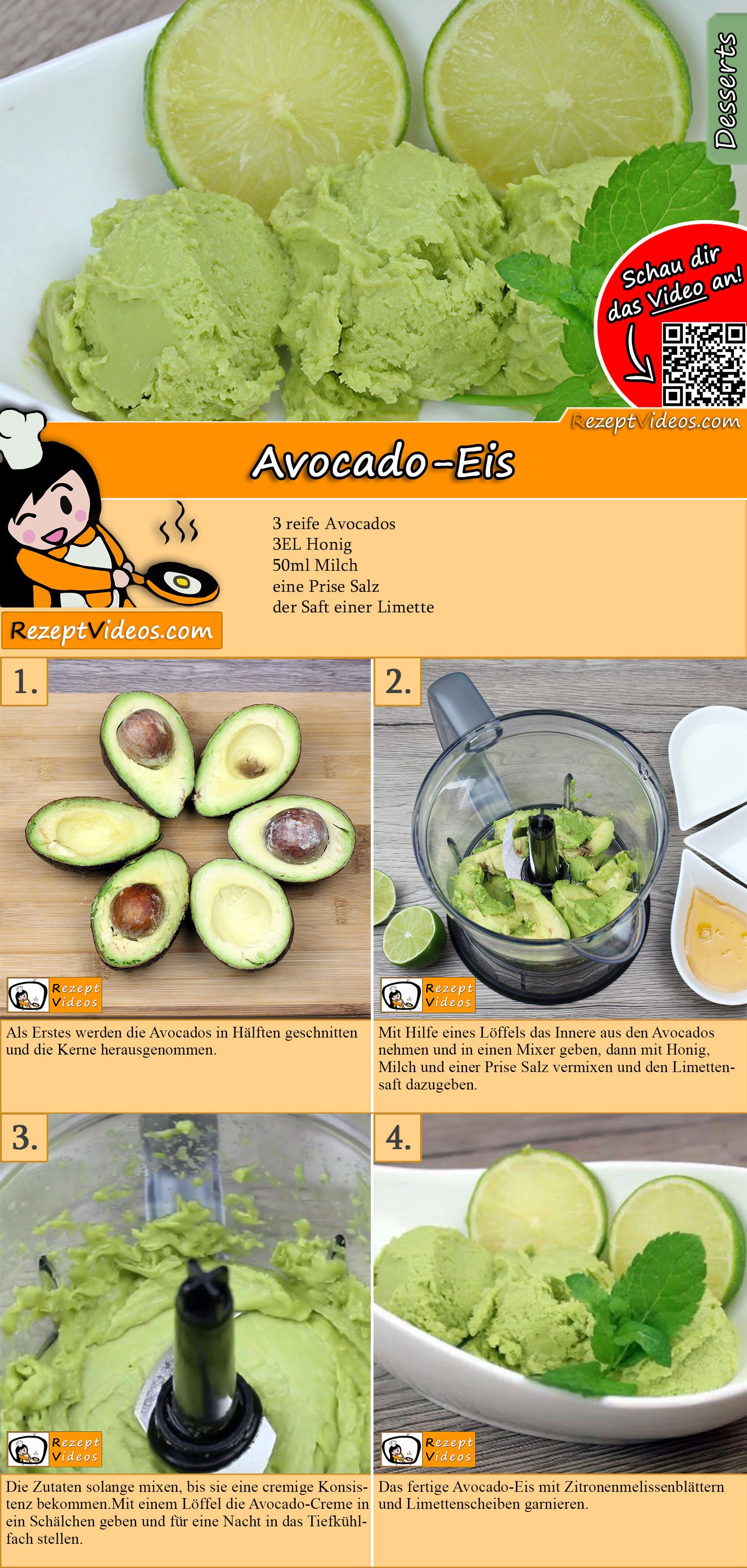 Avocado-Eis Rezept mit Video