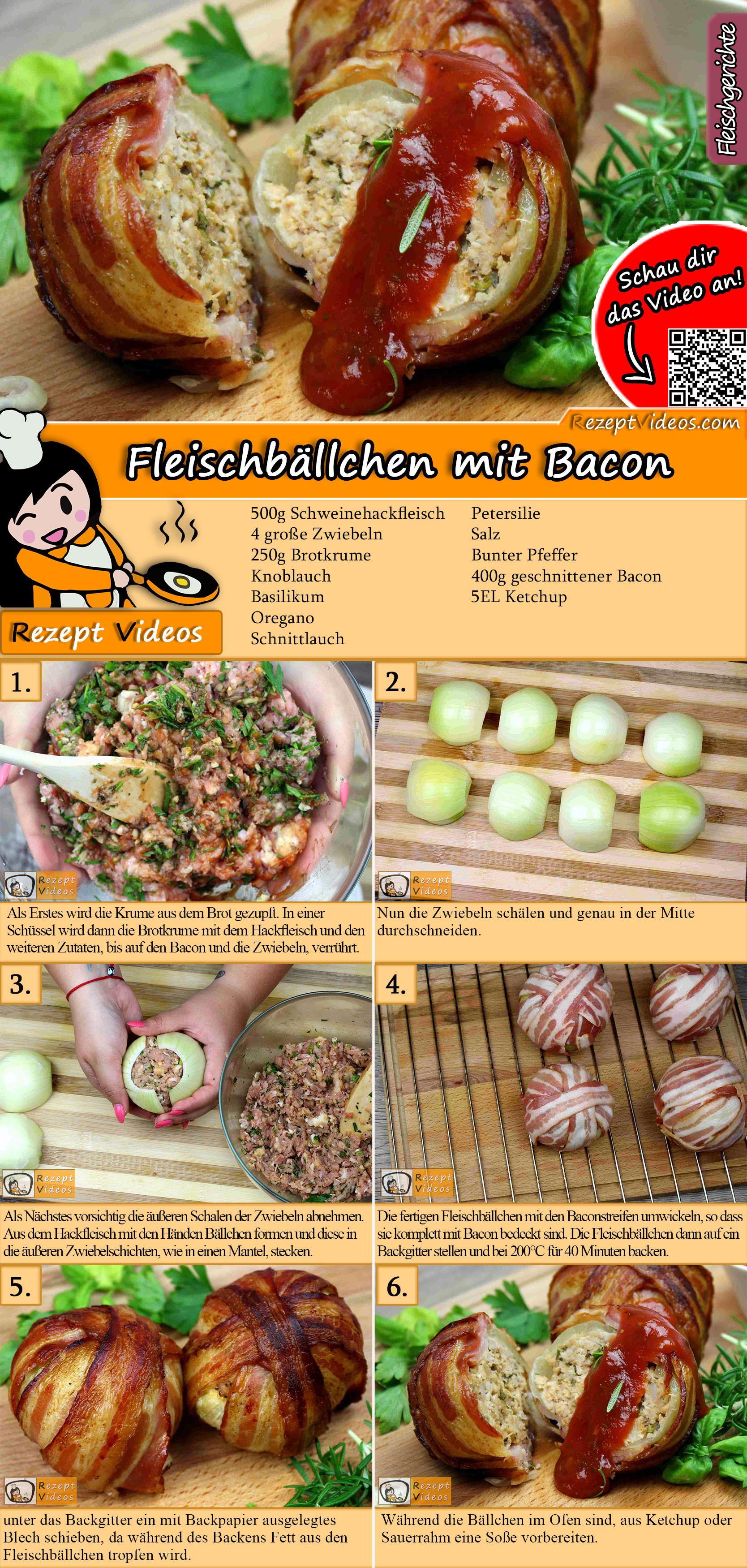Fleischbällchen mit Bacon Rezept mit Video