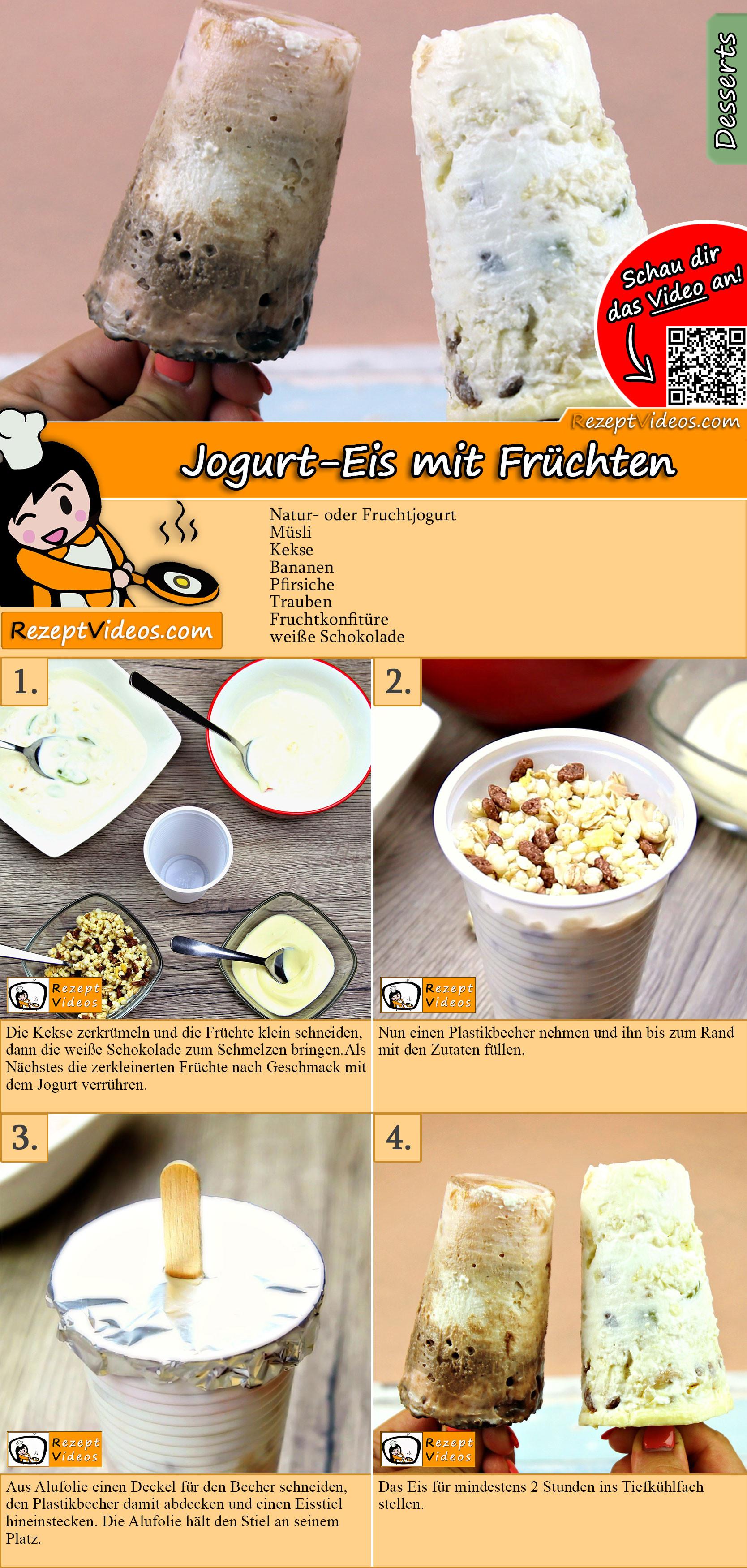 Jogurt-Eis mit Früchten Rezept mit Video