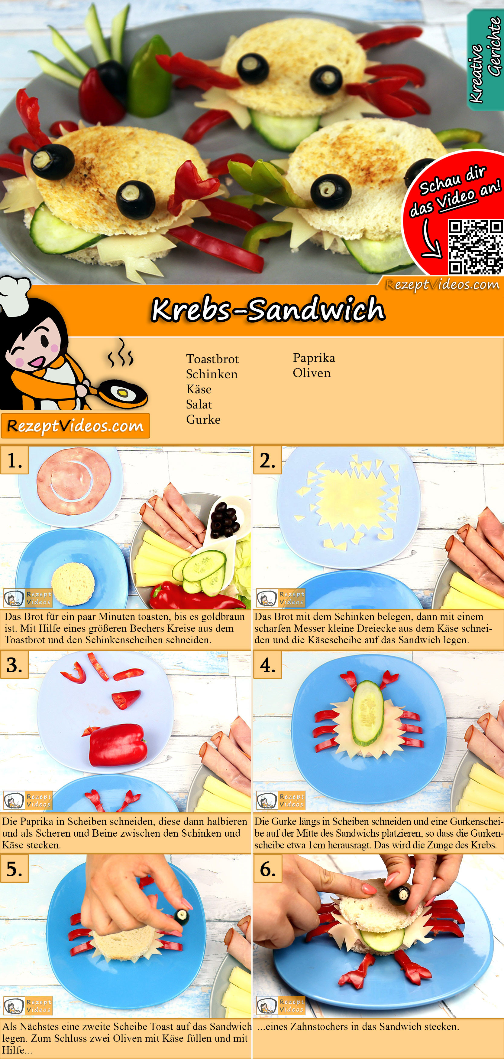 Krebs-Sandwich Rezept mit Video
