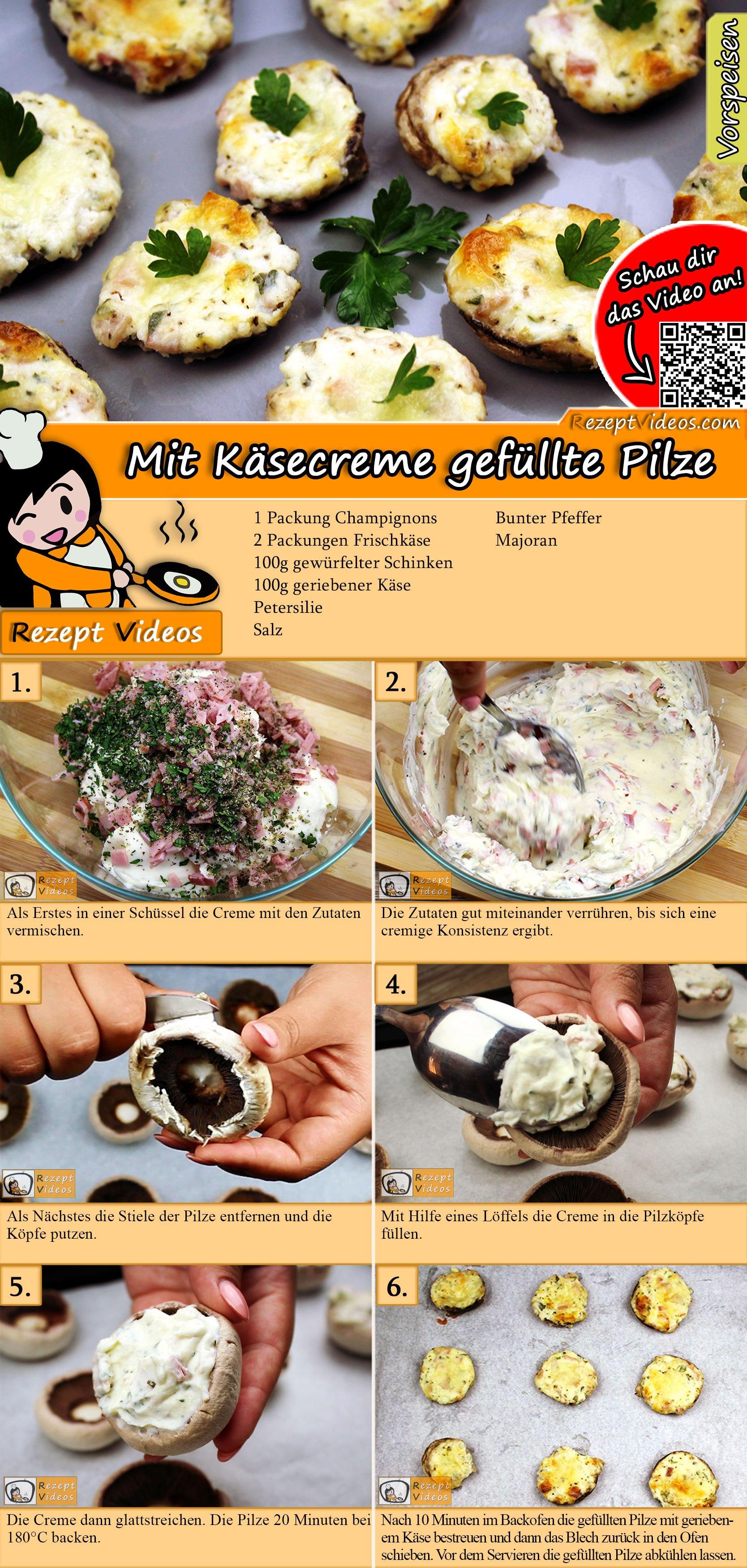 Mit Käsecreme gefüllte Pilze Rezept mit Video