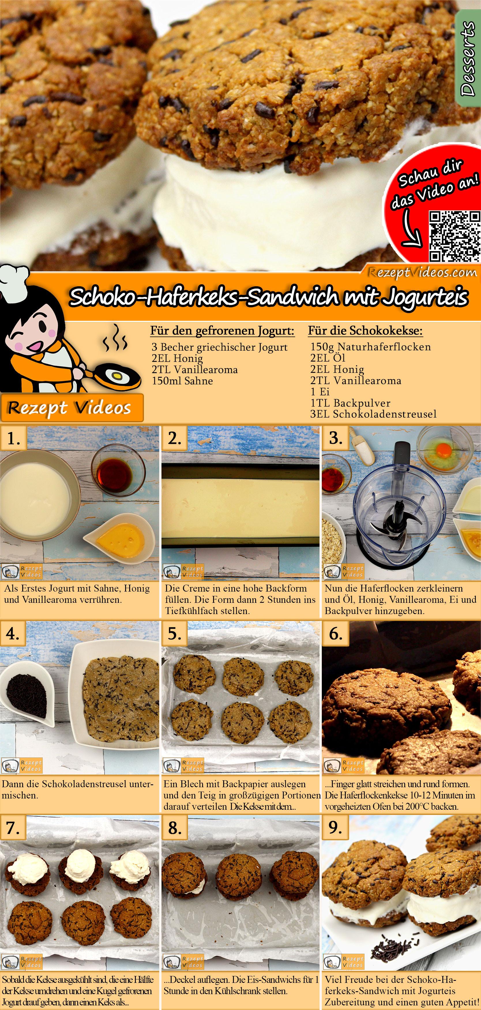 Schoko-Haferkeks-Sandwich mit Jogurteis Rezept mit Video