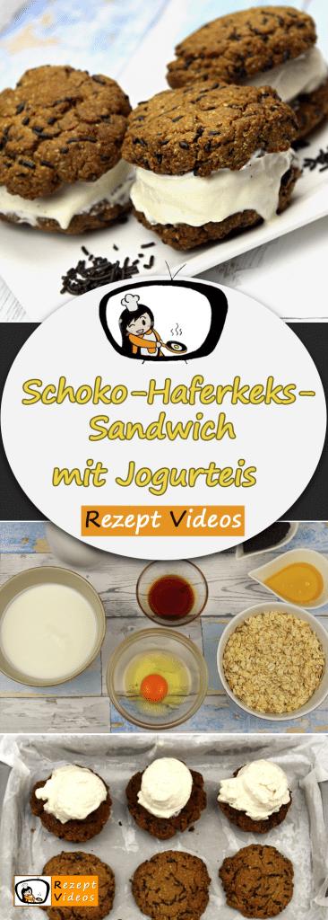 Schoko-Haferkeks-Sandwich mit Jogurteis, Rezept Videos, einfache Rezepte, Eis Rezept, Jogurteis, Nachtisch Rezept, Desserts, leckere Rezepte