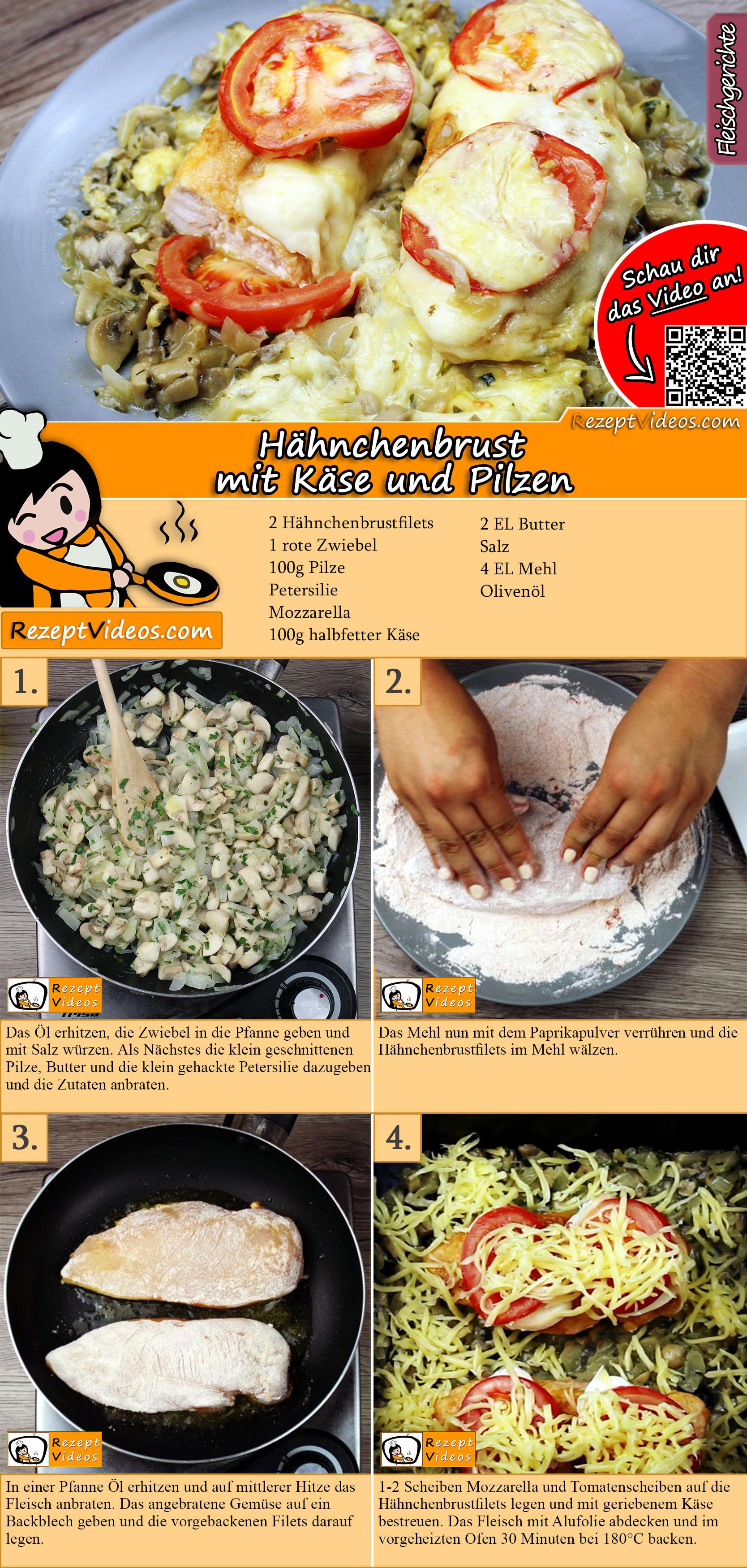 Hähnchenbrust mit Käse und Pilzen Rezept mit Video
