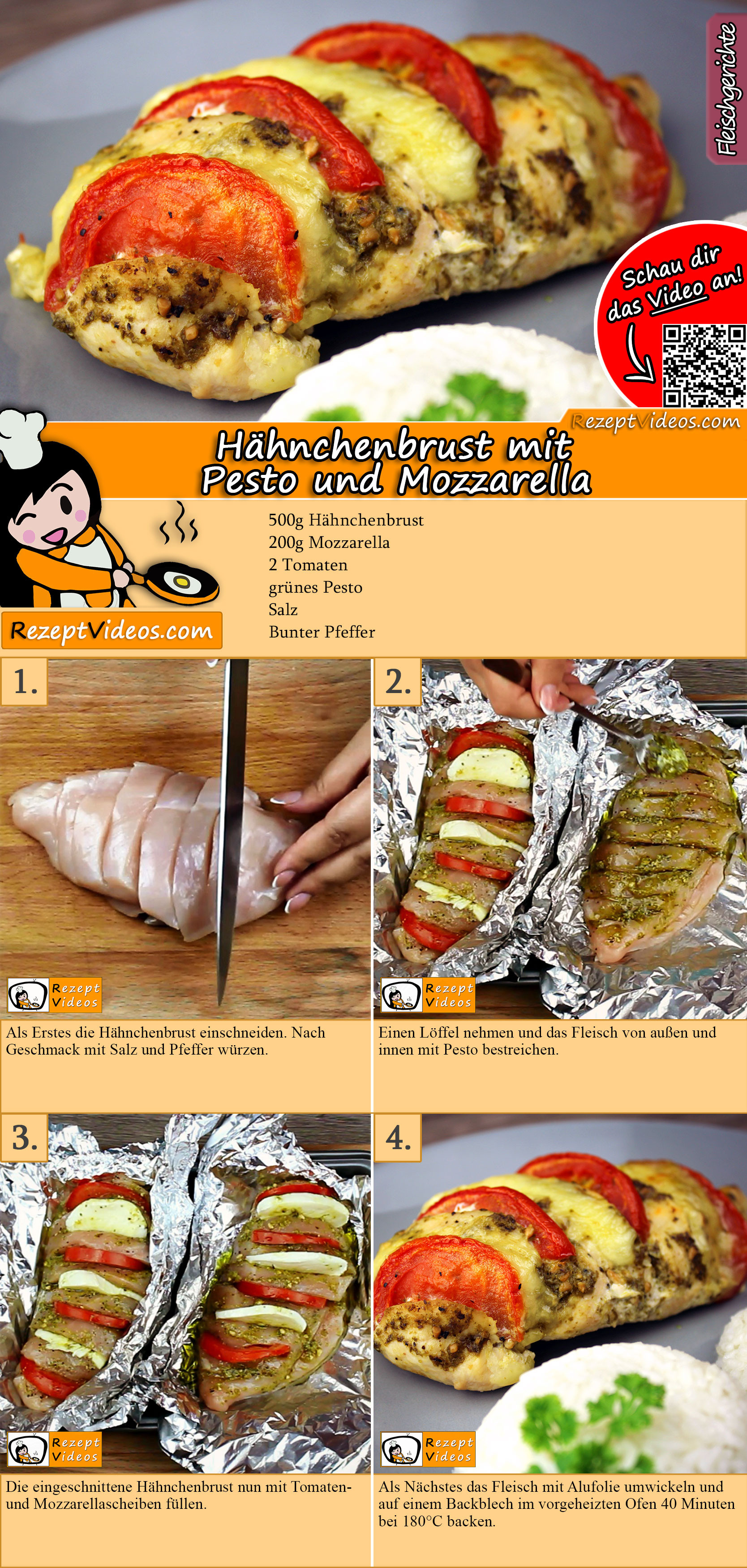 Hähnchenbrust mit Pesto und Mozzarella Rezept mit Video