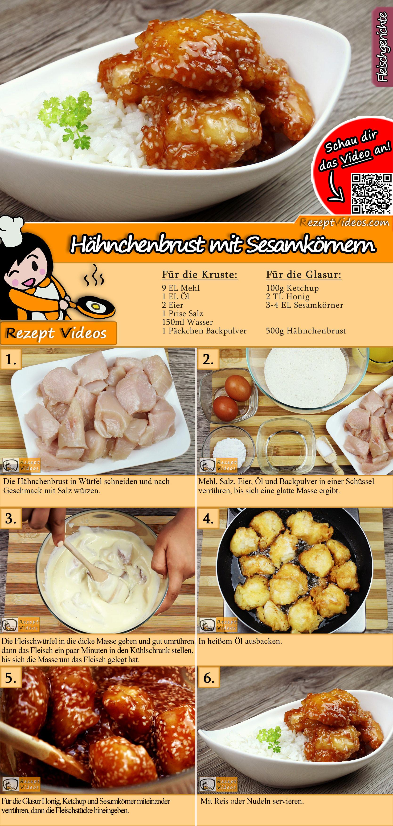 Hähnchenbrust mit Sesamkörnern Rezept mit Video
