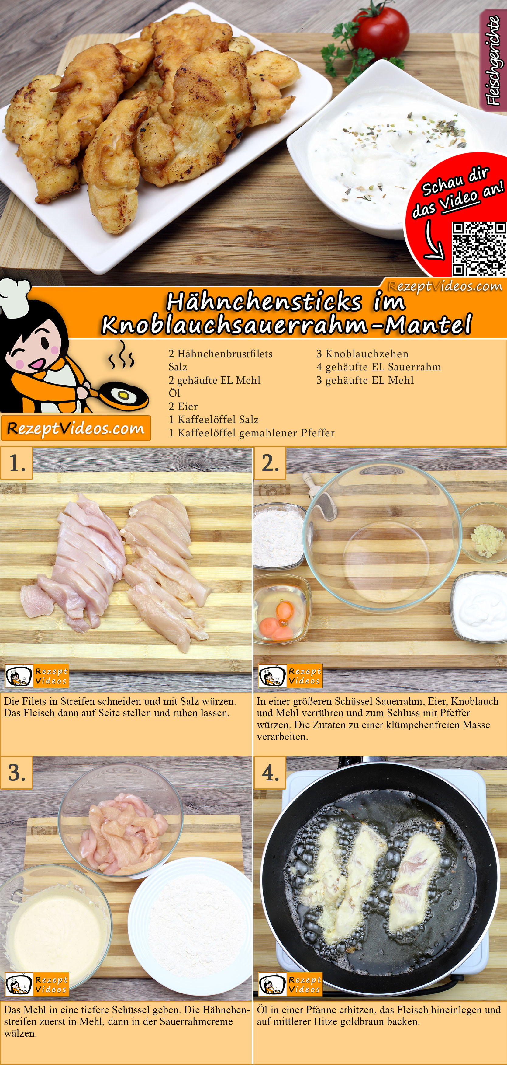 Hähnchensticks im Knoblauchsauerrahm-Mantel Rezept mit Video