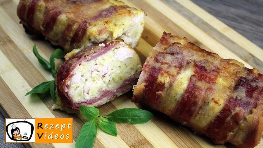 Hähnchenbrust mit Bacon und Käse in Rehrückenform gebacken