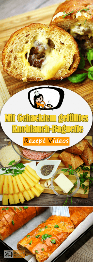 Mit Gehacktem gefülltes Knoblauch-Baguette, Rezeptvideos, einfache Rezepte, Hackfleischrezepte, Hackfleisch, leckere Rezepte