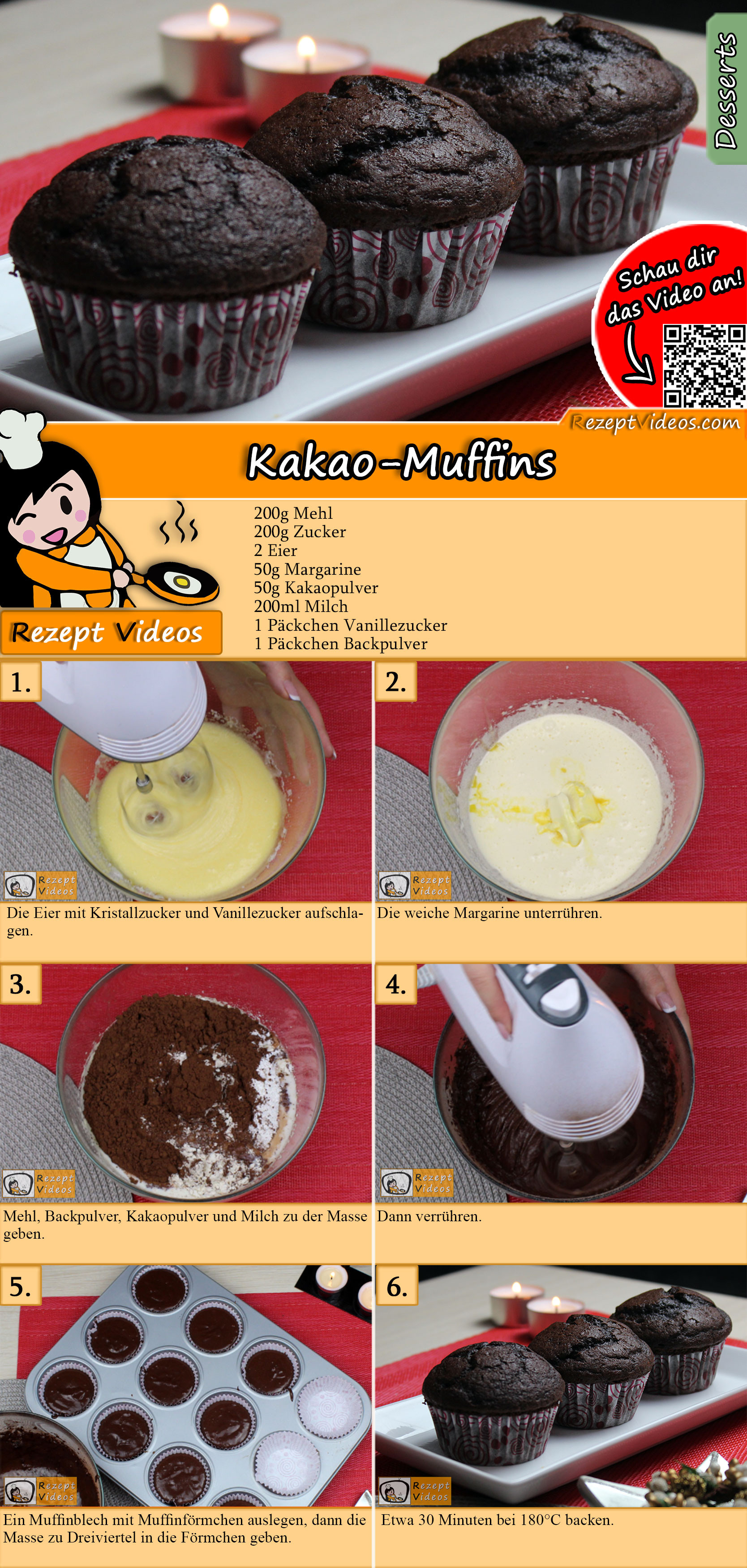 Kakao-Muffins Rezept mit Video