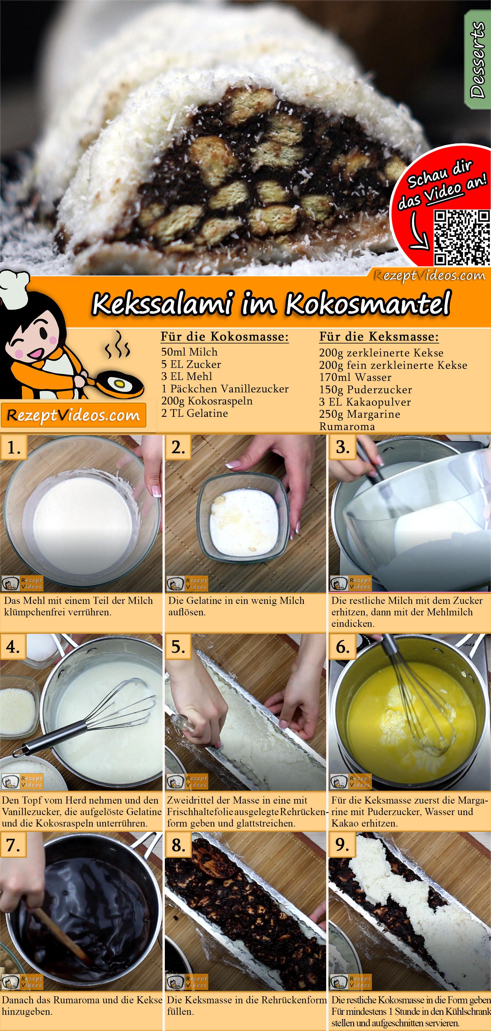 Kekssalami im Kokosmantel Rezept mit Video