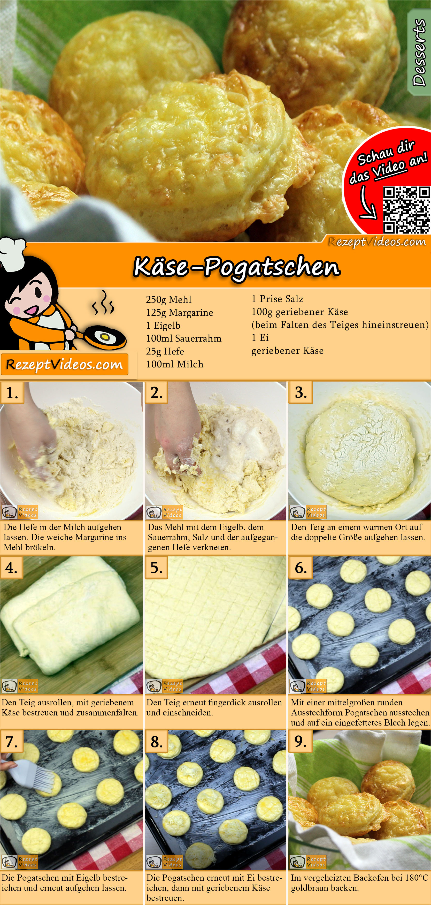 Käse-Pogatschen Rezept mit Video