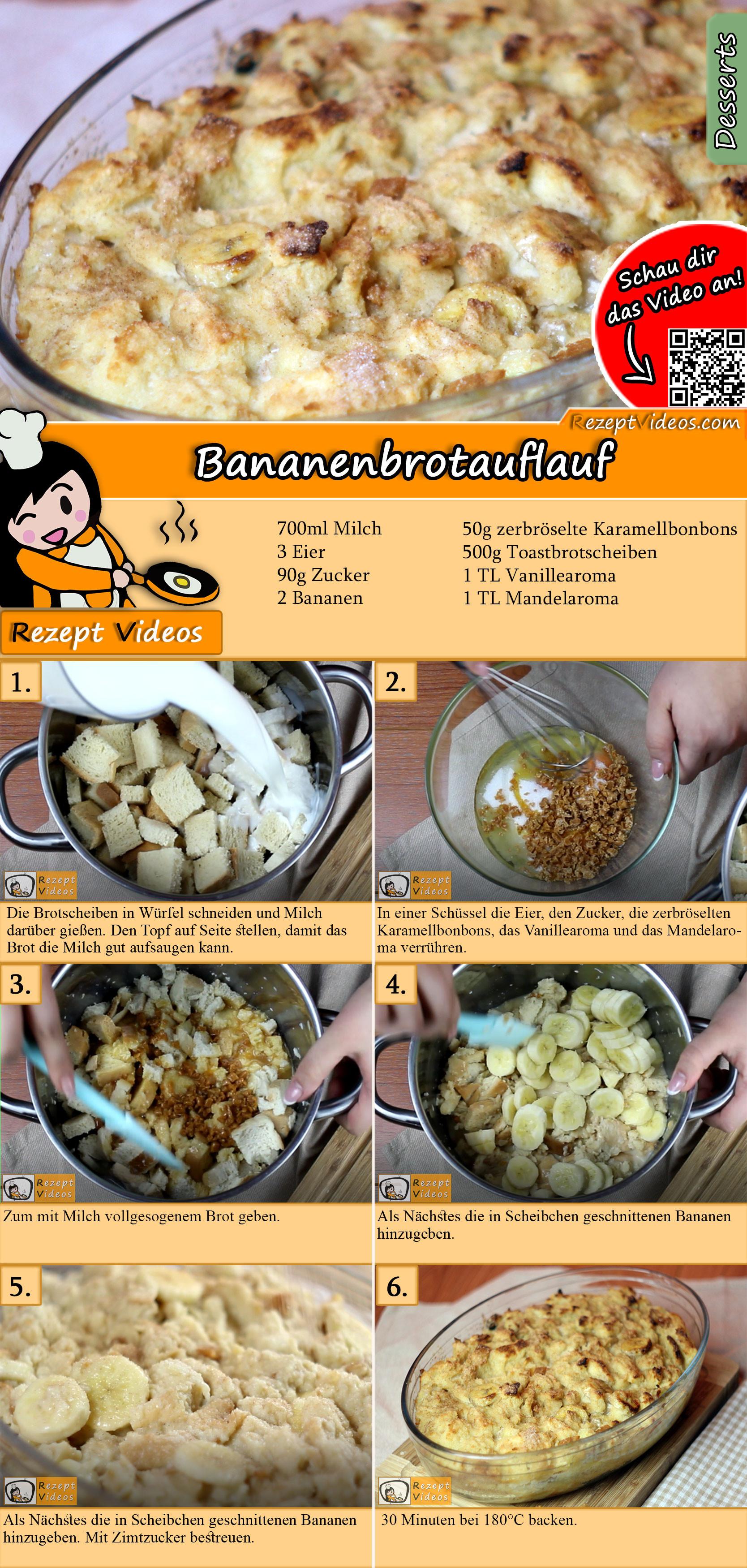 Bananenbrotauflauf Rezept mit Video