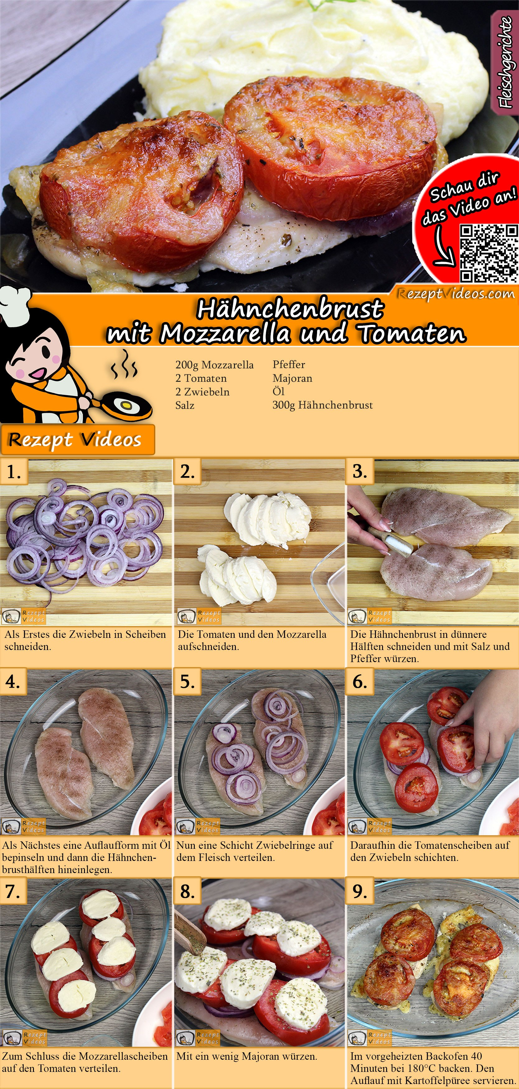Hähnchenbrust mit Mozzarella und Tomaten Rezept mit Video