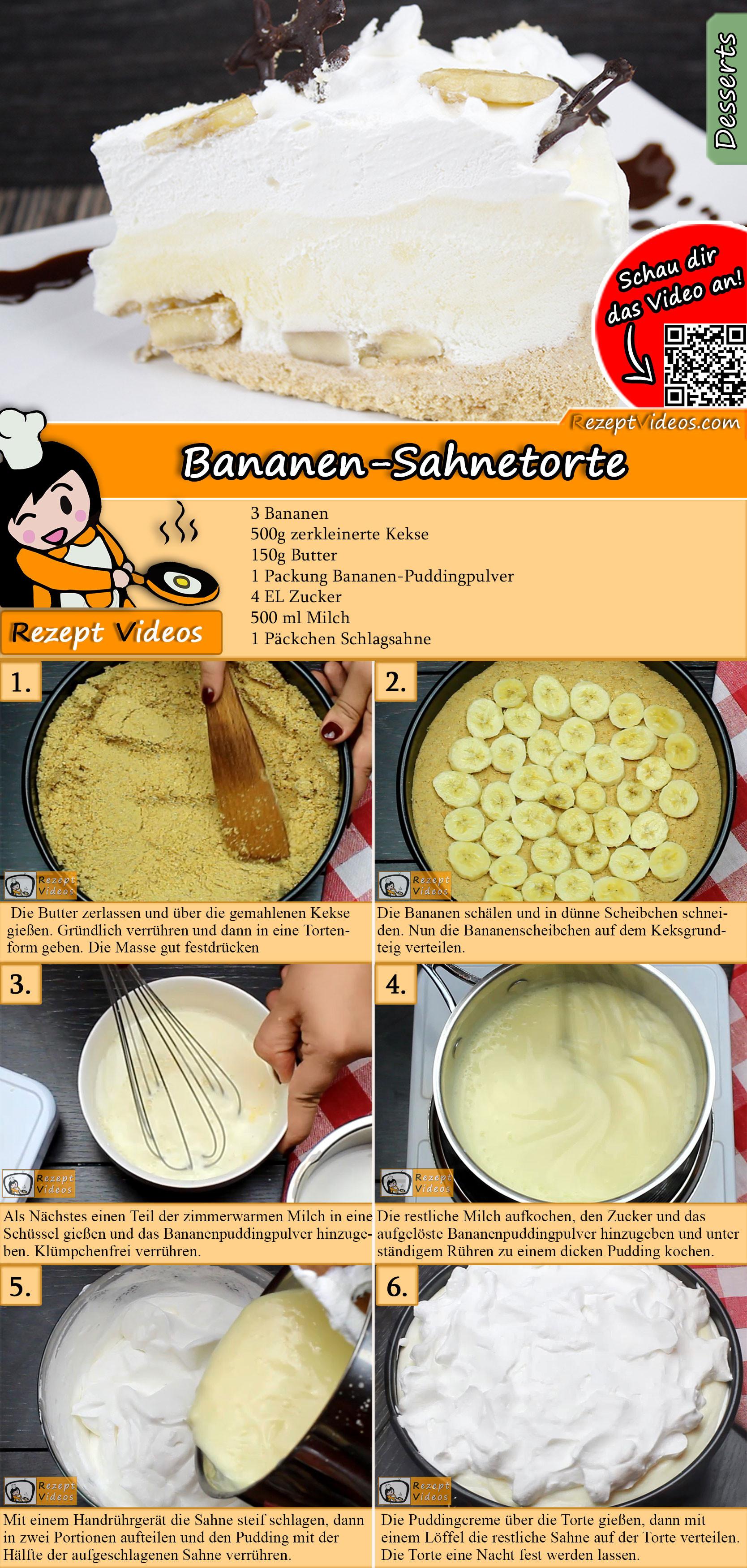 Bananen-Sahnetorte Rezept mit Video