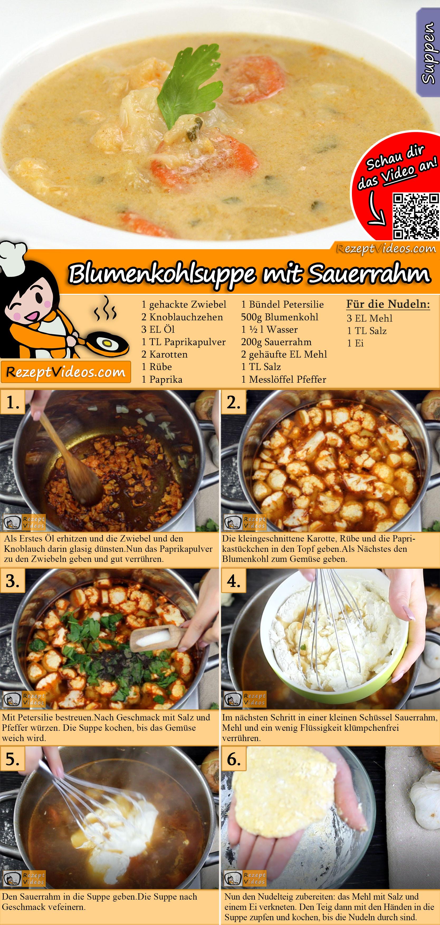 Blumenkohlsuppe mit Sauerrahm Rezept mit Video