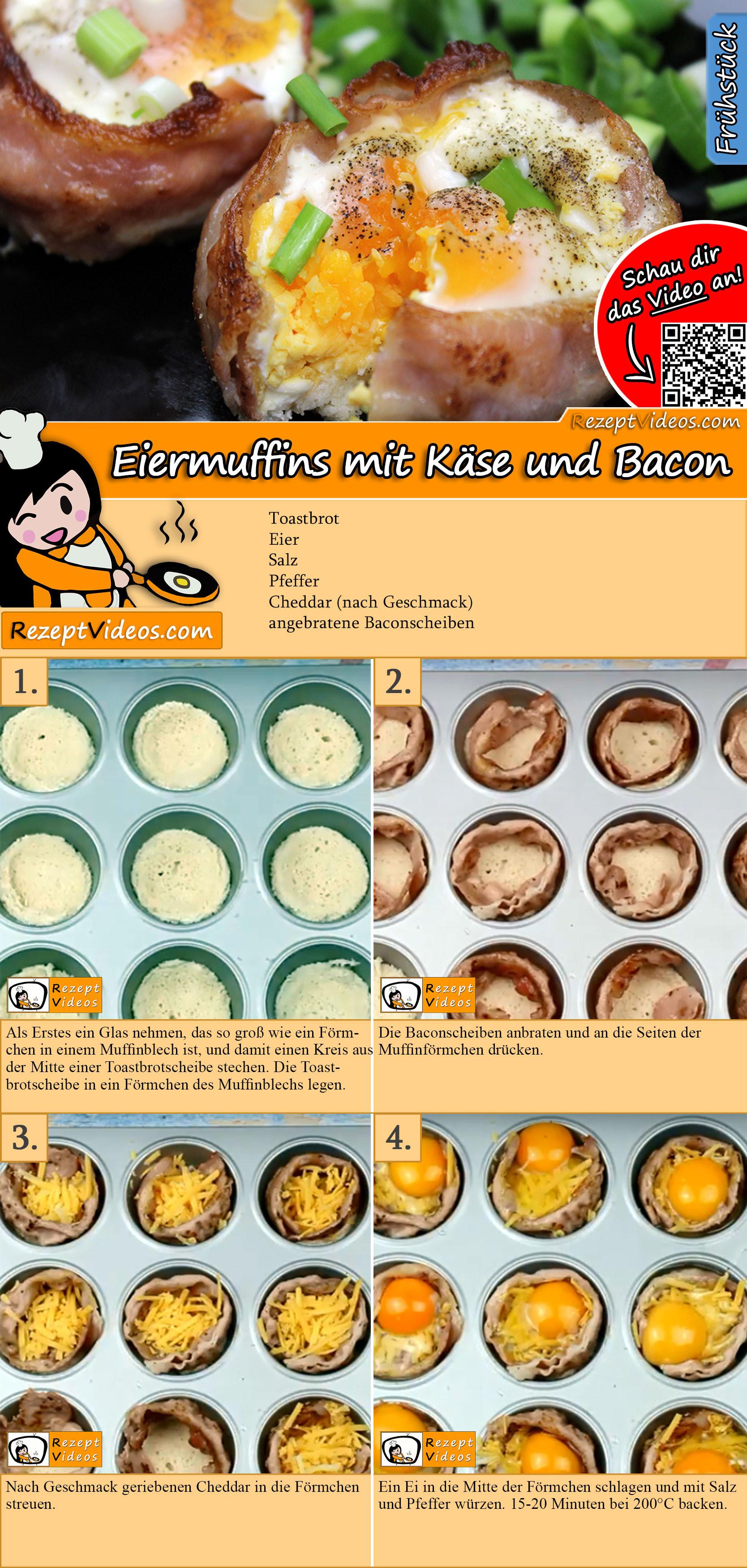 Eiermuffins mit Käse und Bacon Rezept mit Video