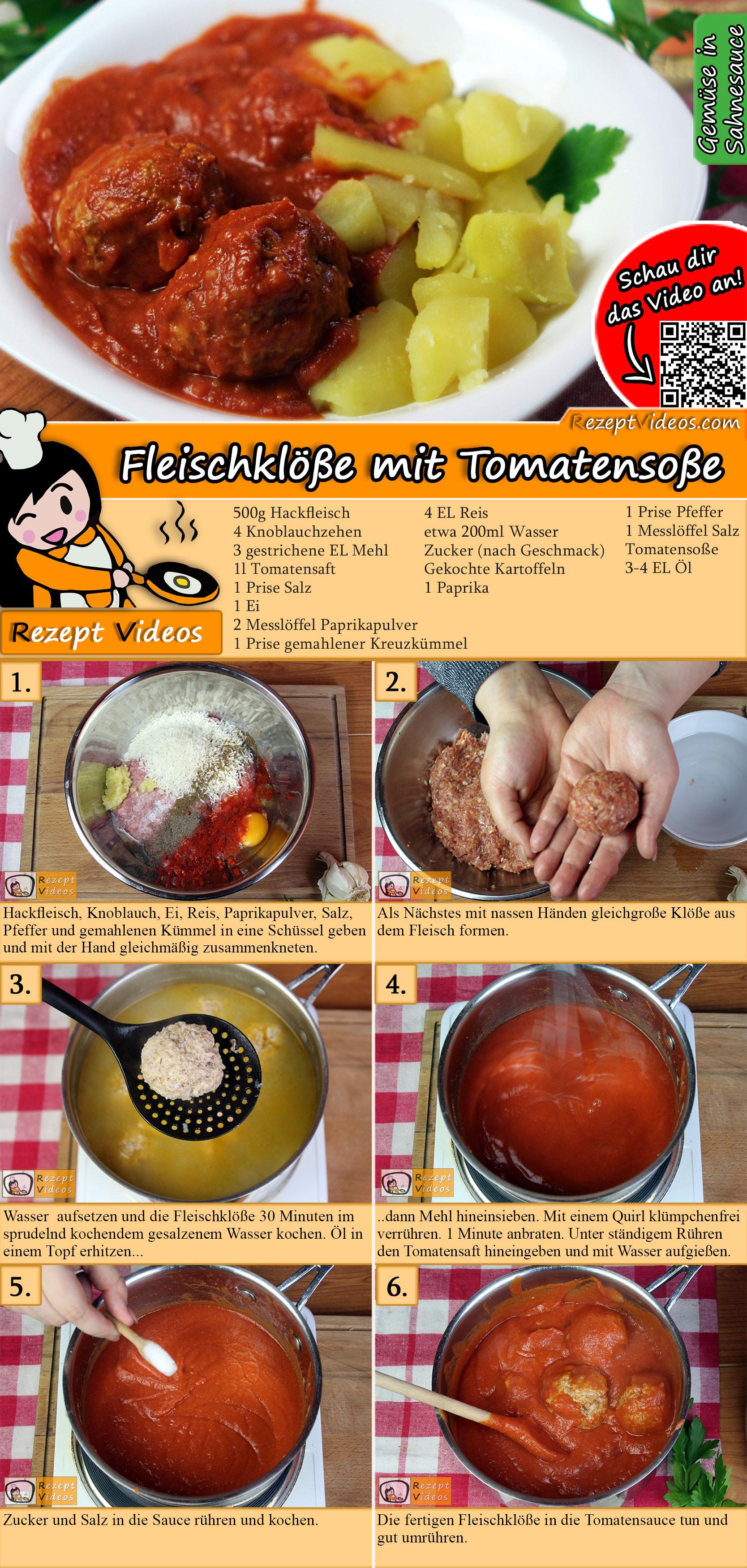 Fleischklöße mit Tomatensoße Rezept mit Video