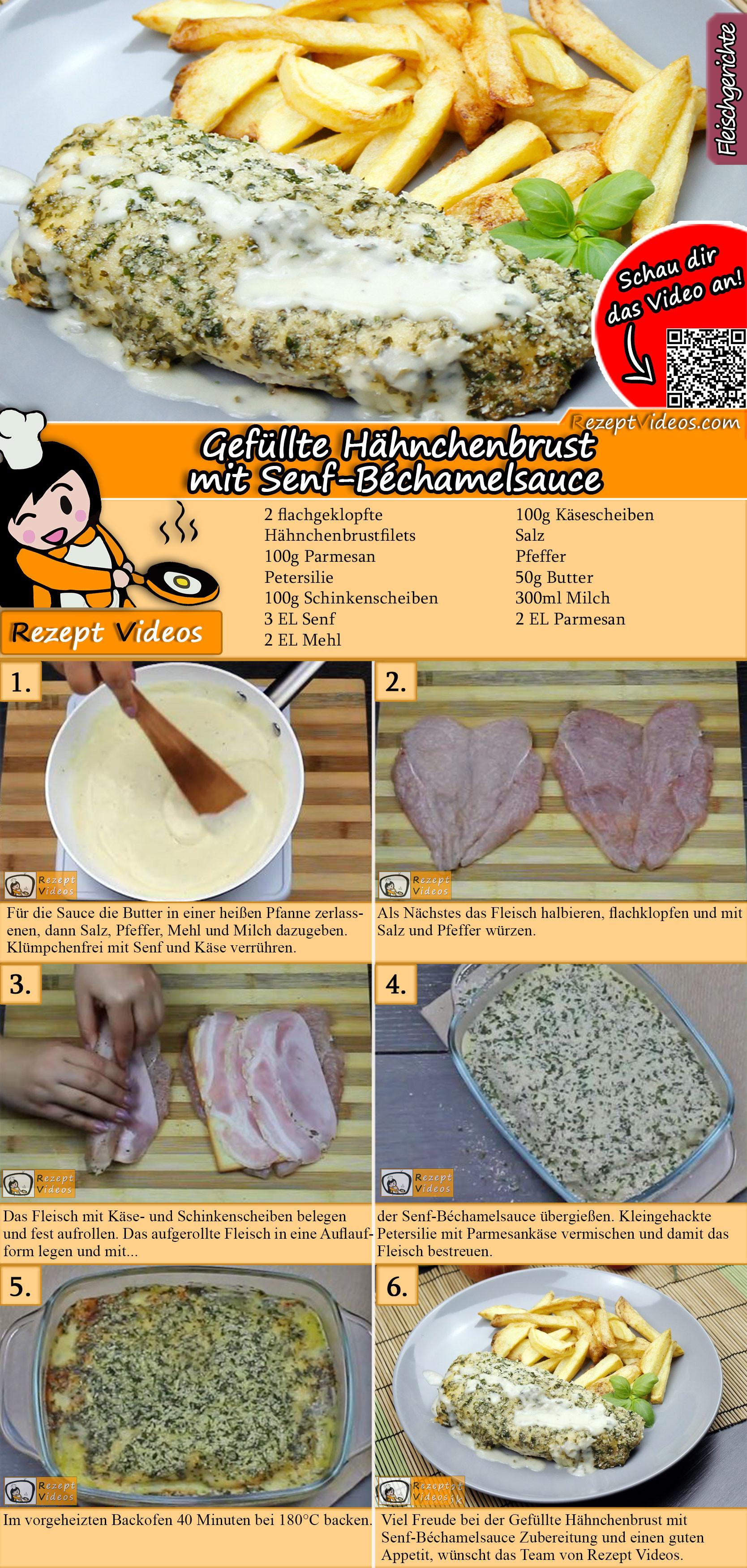 Gefüllte Hähnchenbrust mit Senf-Béchamelsauce Rezept mit Video