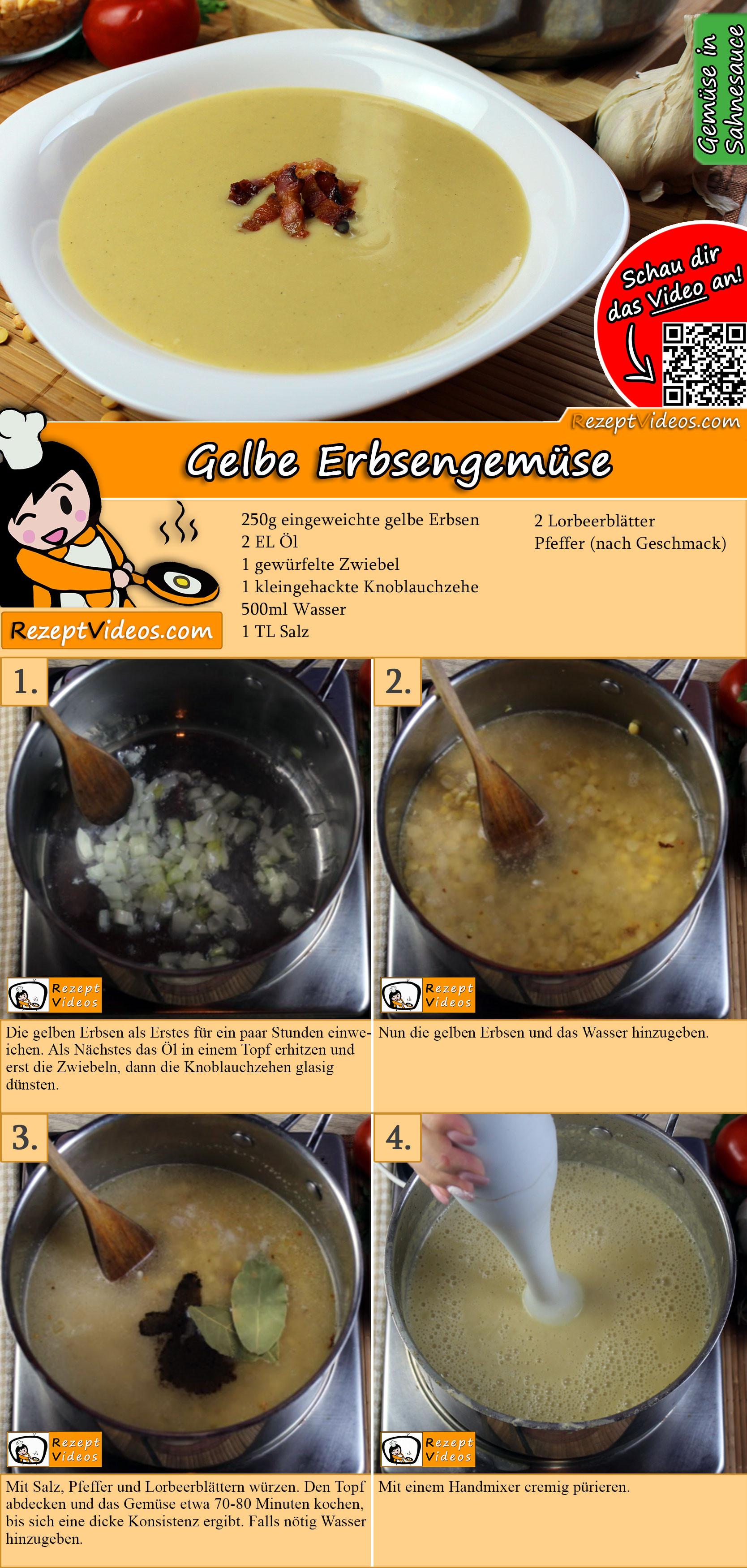 Gelbe Erbsengemüse Rezept mit Video