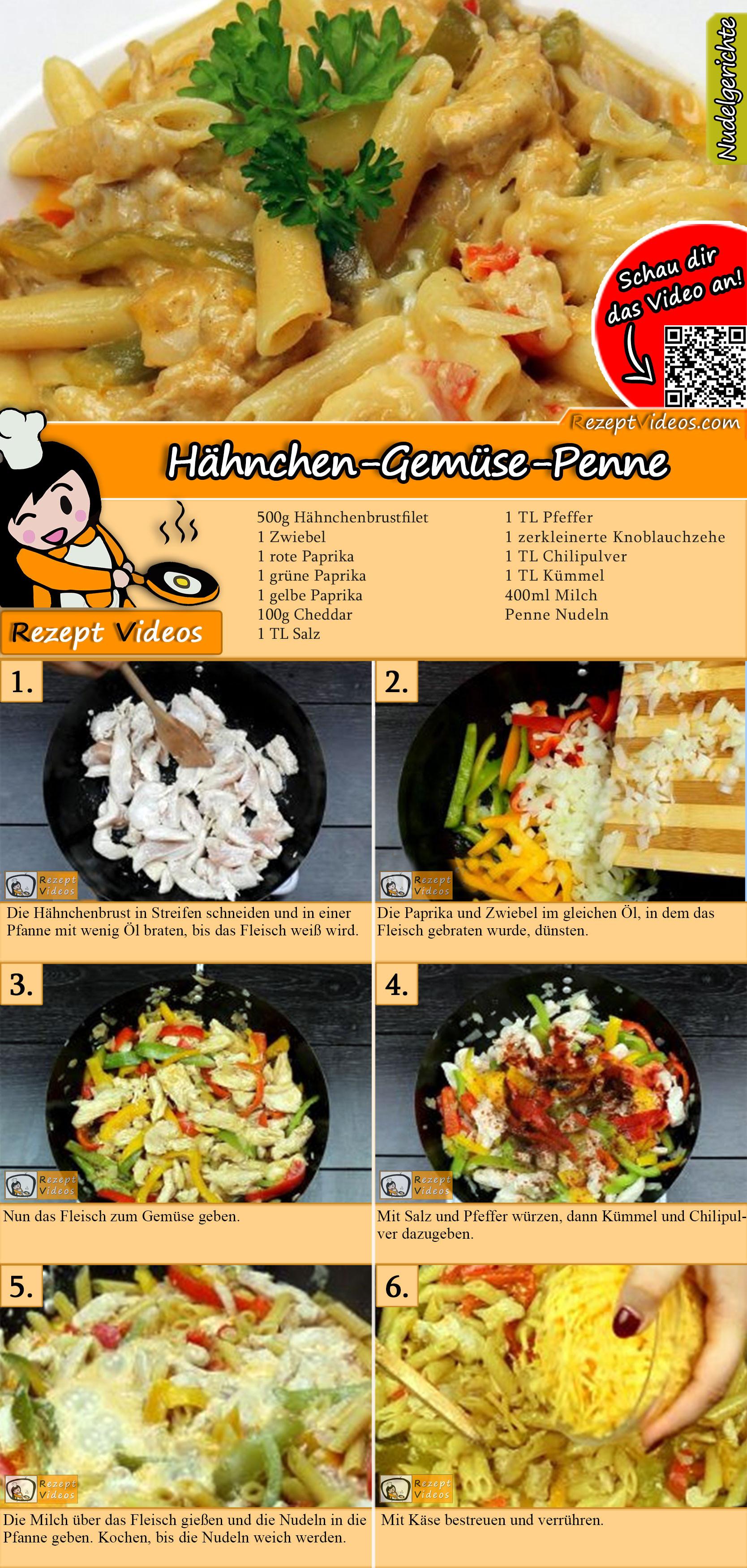 Hähnchen-Gemüse-Penne Rezept mit Video