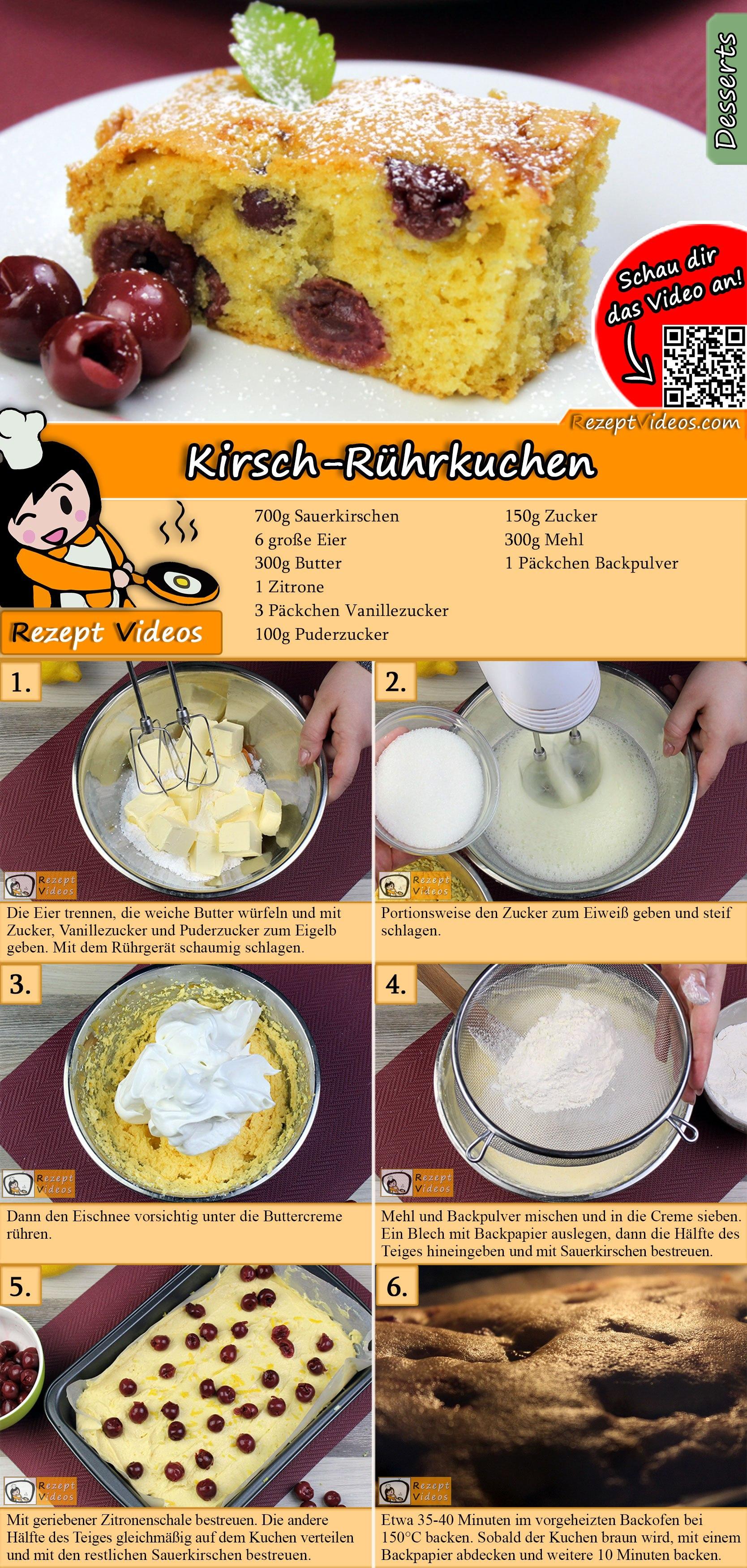 Kirsch-Rührkuchen Rezept mit Video