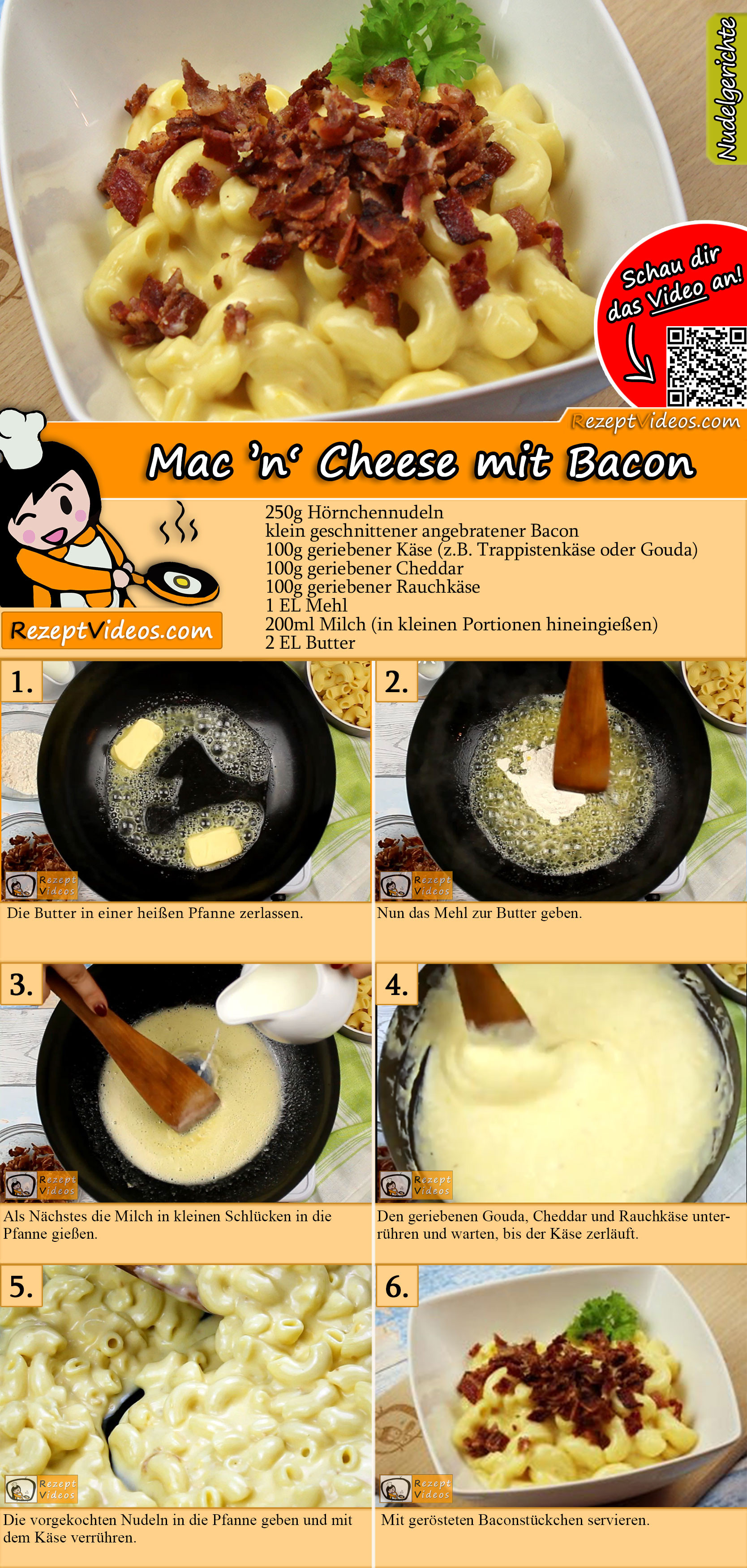 Mac 'n' Cheese mit Bacon Rezept mit Video