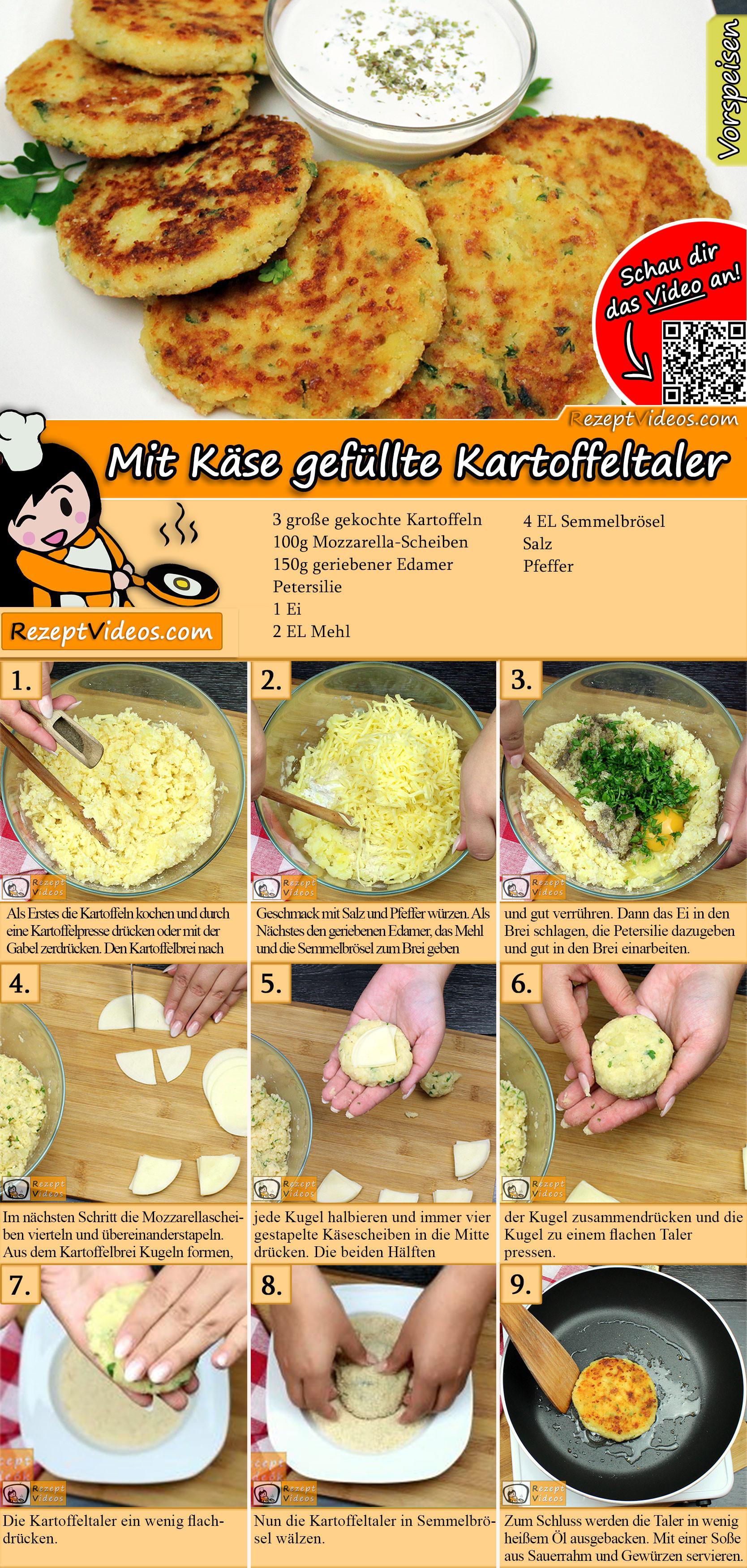 Mit Käse gefüllte Kartoffeltaler Rezept mit Video