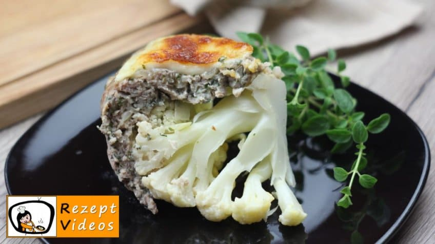 Mit Käse gefüllter Blumenkohl im Fleischmantel - Rezept Videos