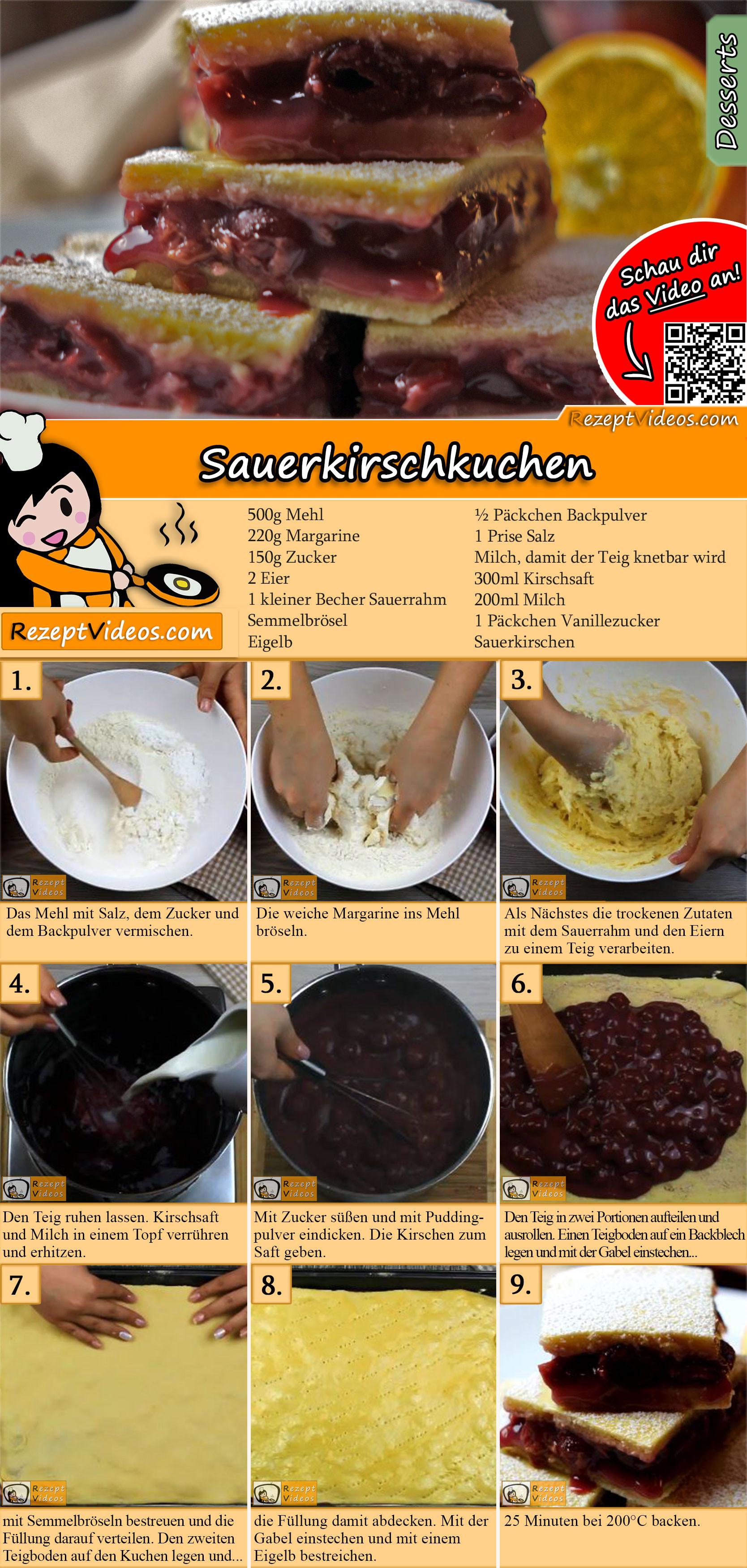 Sauerkirschkuchen Rezept mit Video