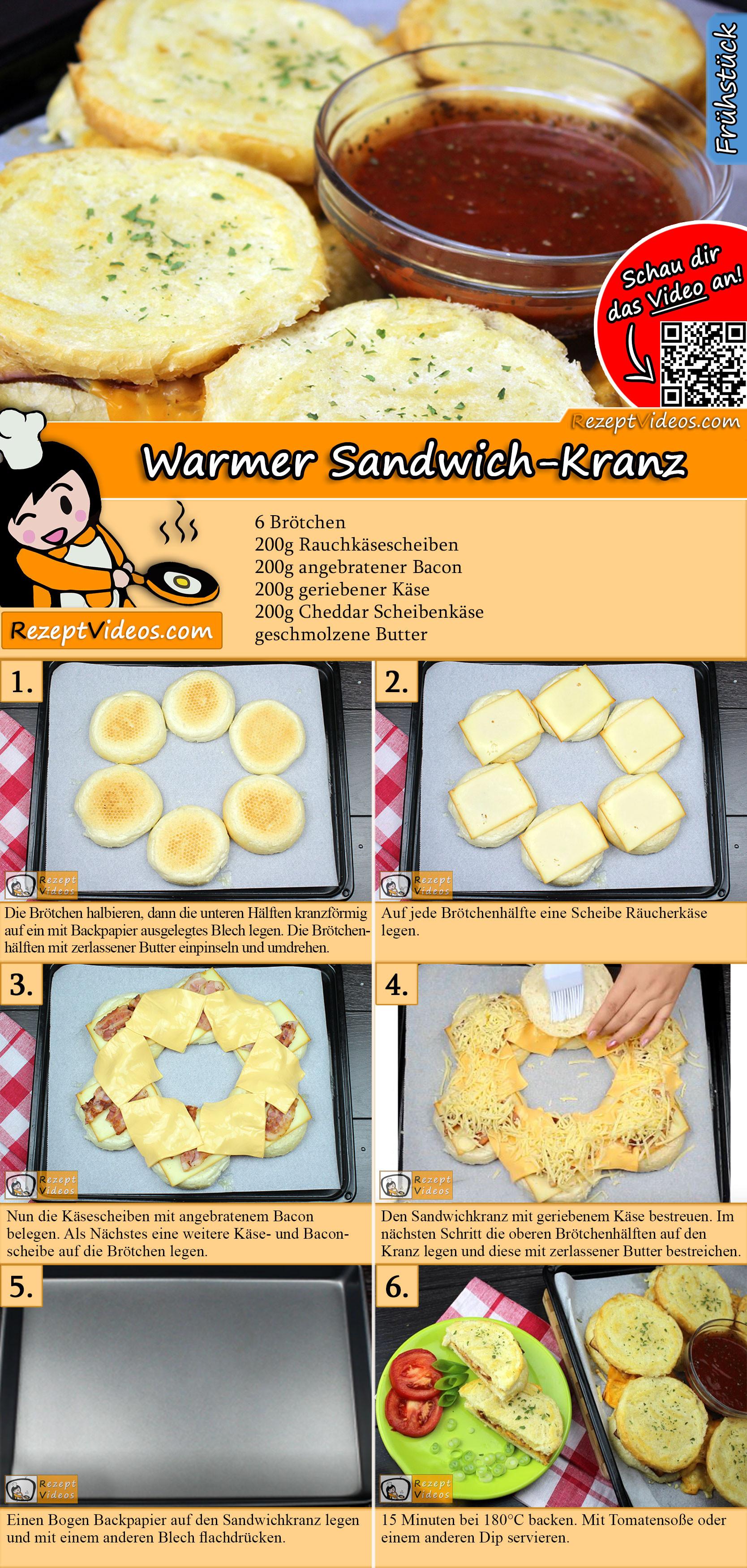 Warmer Sandwich-Kranz Rezept mit Video