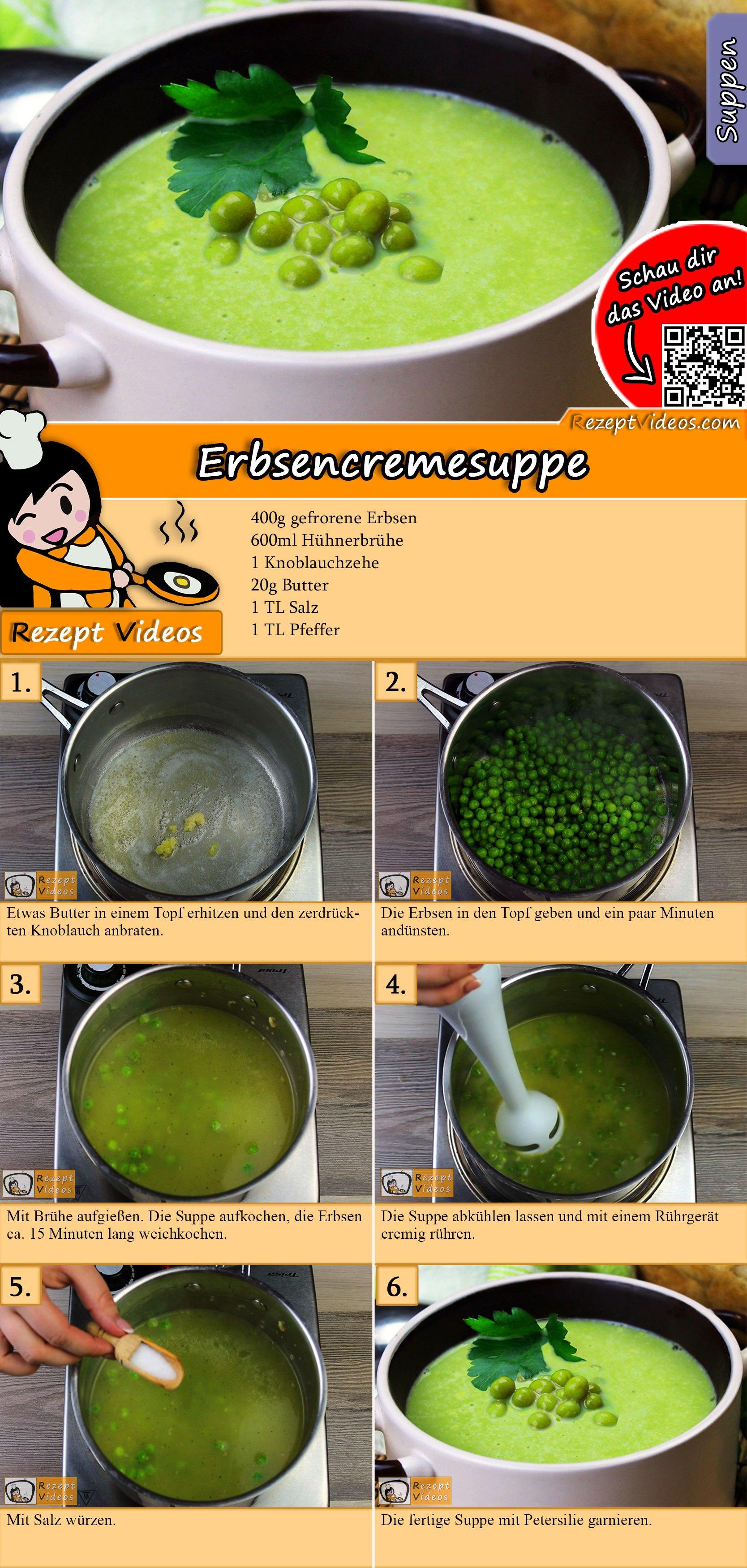Erbsencremesuppe Rezept mit Video