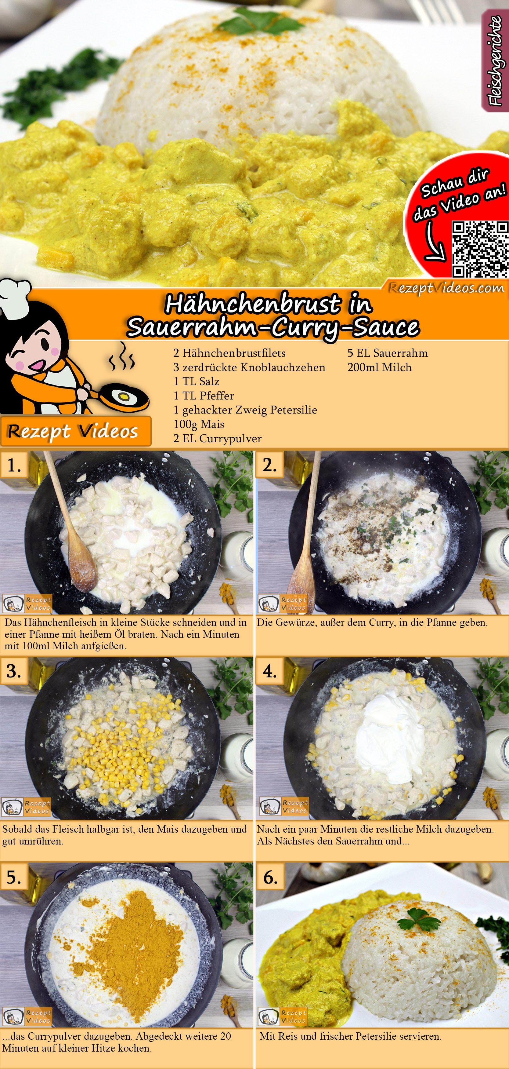 Hähnchenbrust in Sauerrahm-Curry-Sauce Rezept mit Video