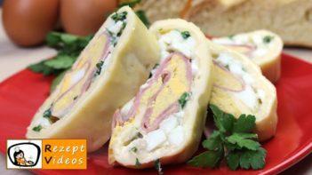 Käseröllchen mit Ei und Schinken