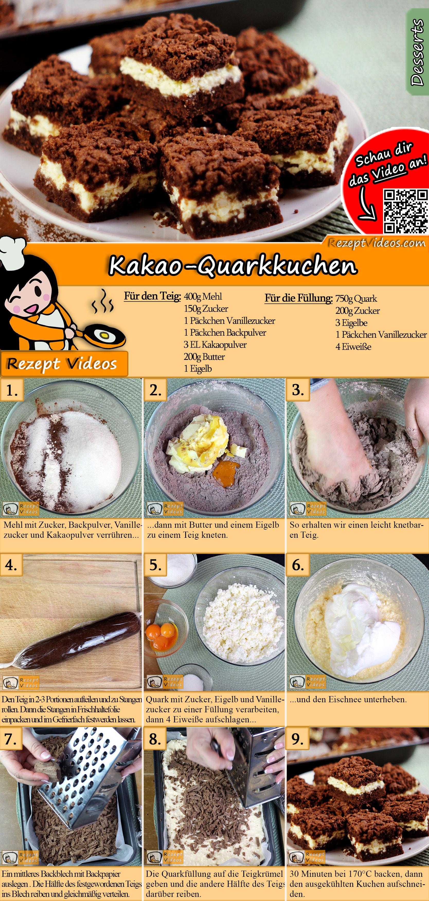 Kakao-Quarkkuchen Rezept mit Video