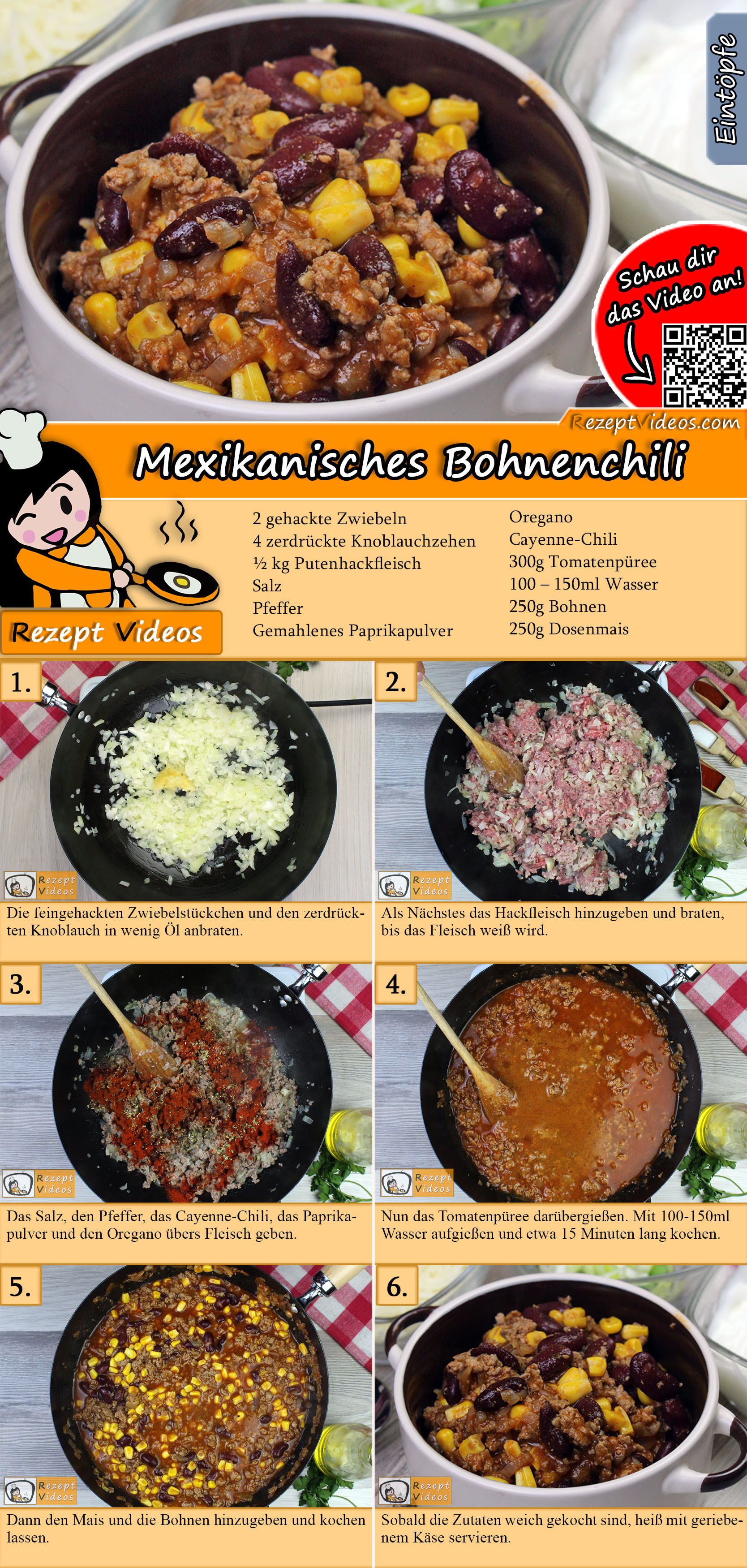 Mexikanisches Bohnenchili Rezept mit Video