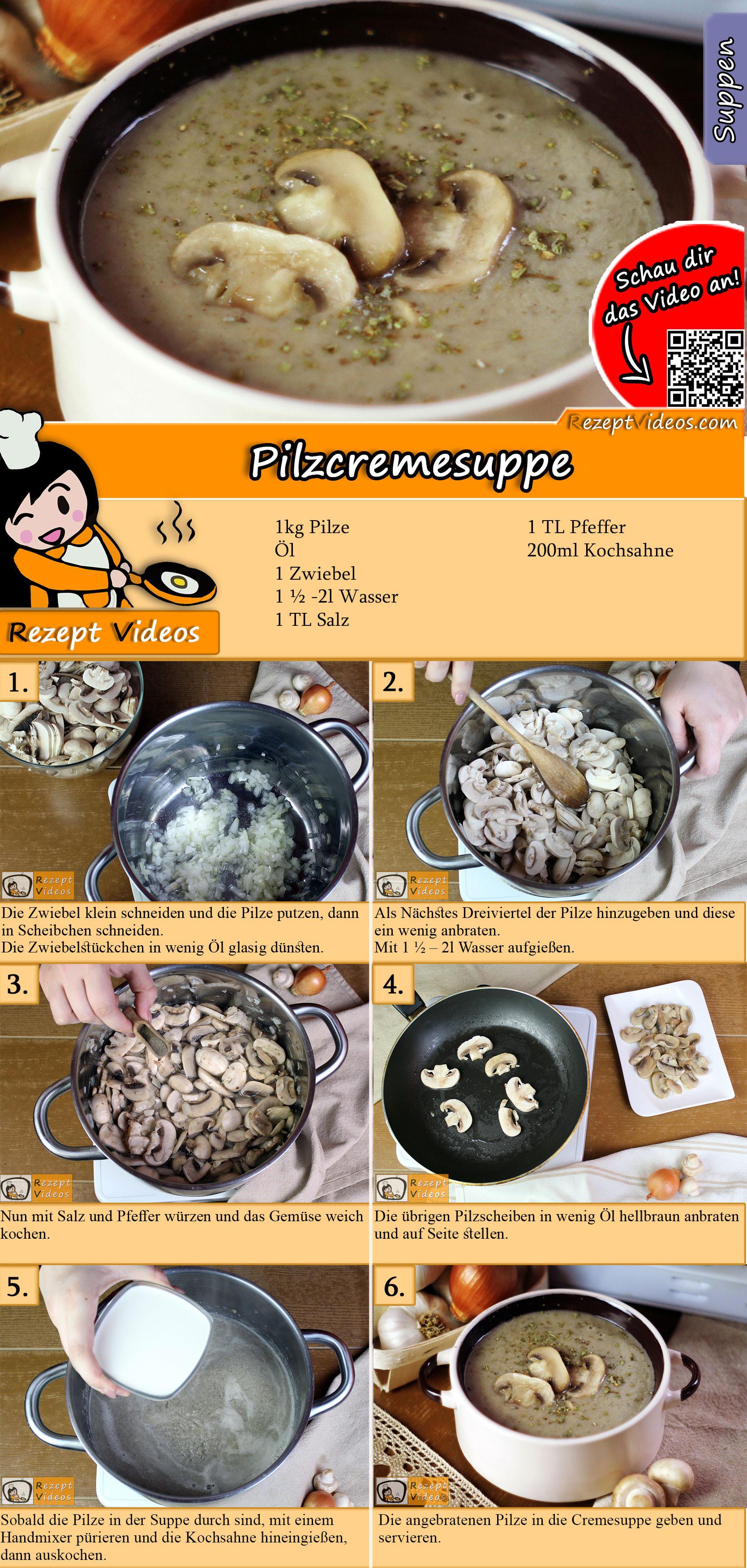 Pilzcremesuppe Rezept mit Video