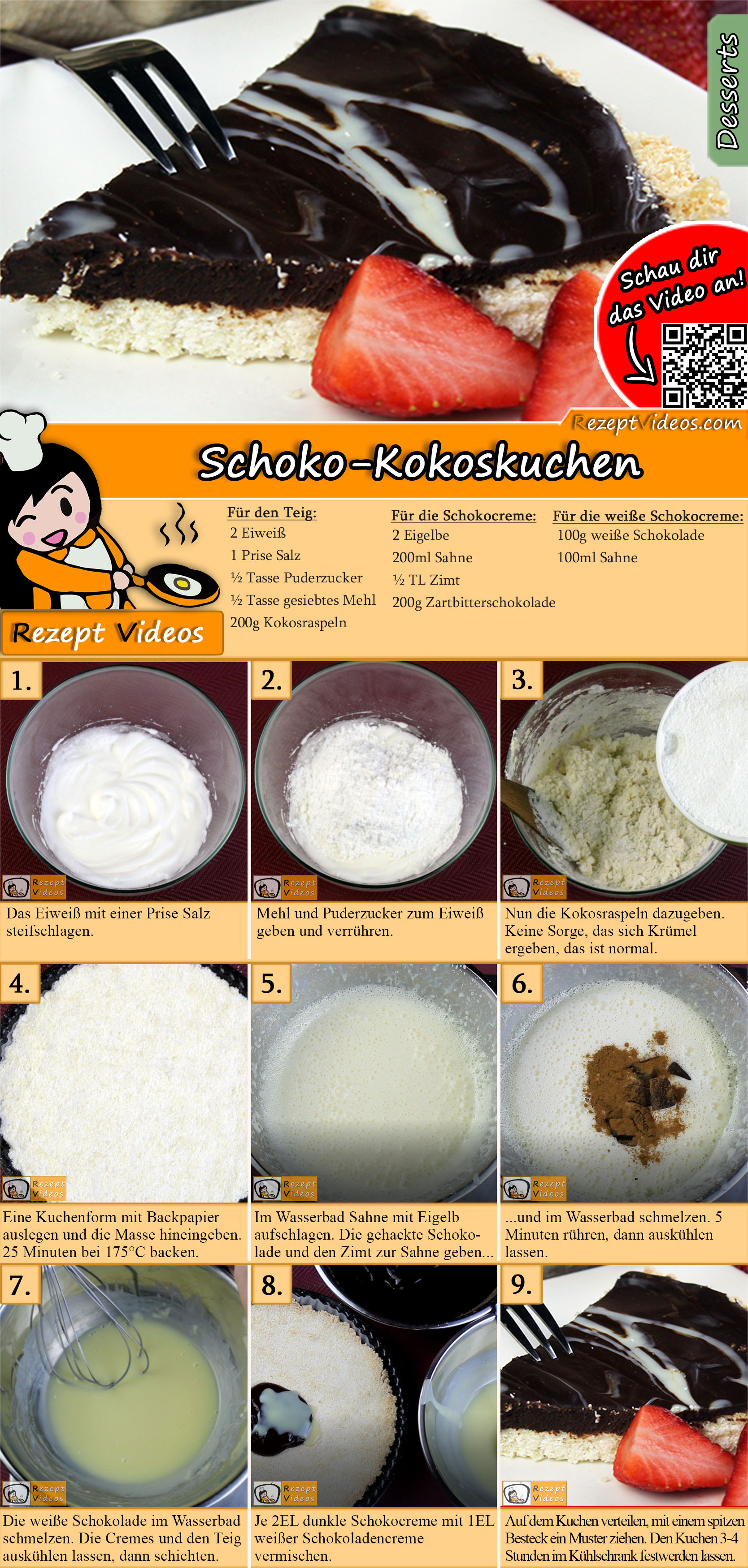 Schoko-Kokoskuchen Rezept mit Video