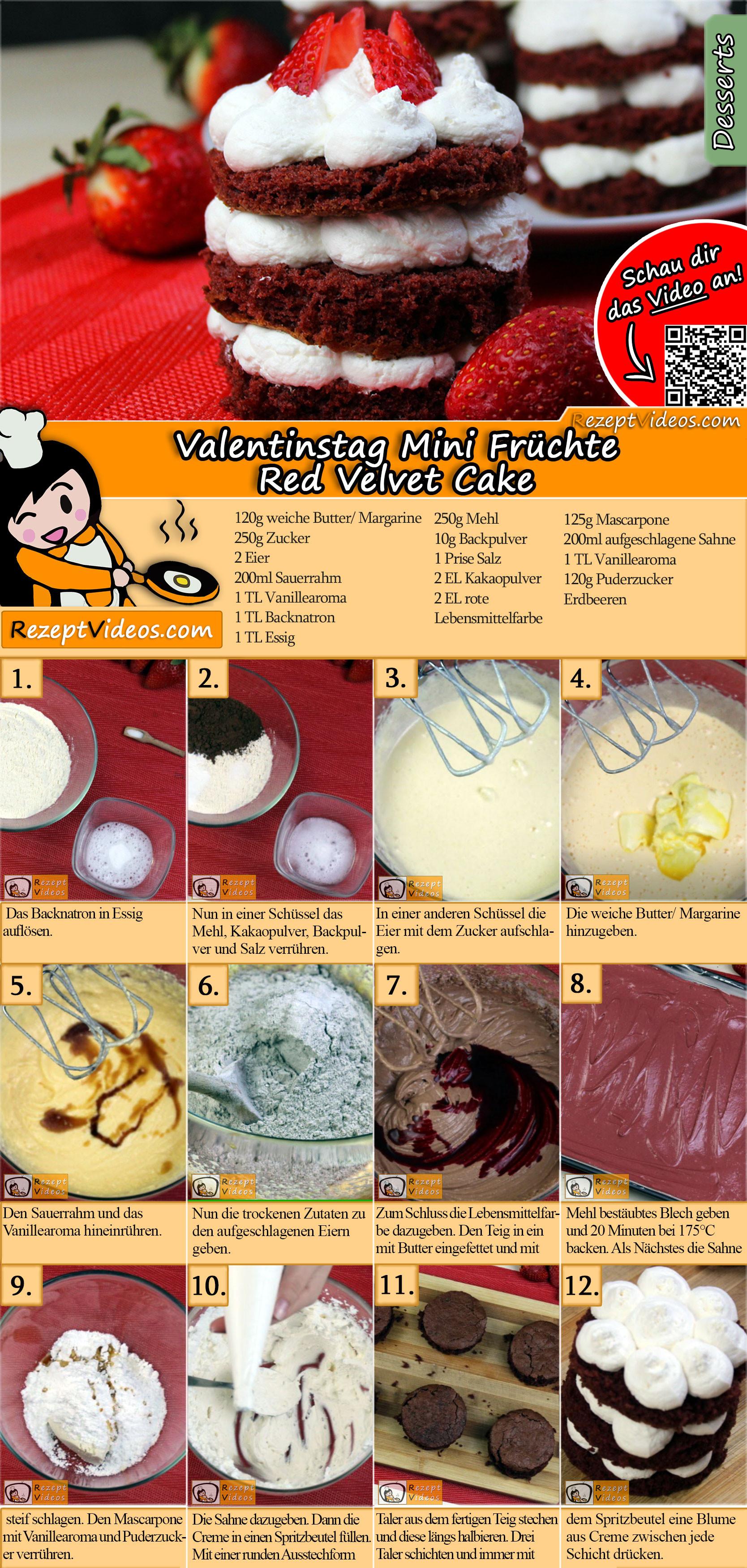 Valentinstag Mini Früchte Red Velvet Cake Rezept mit Video