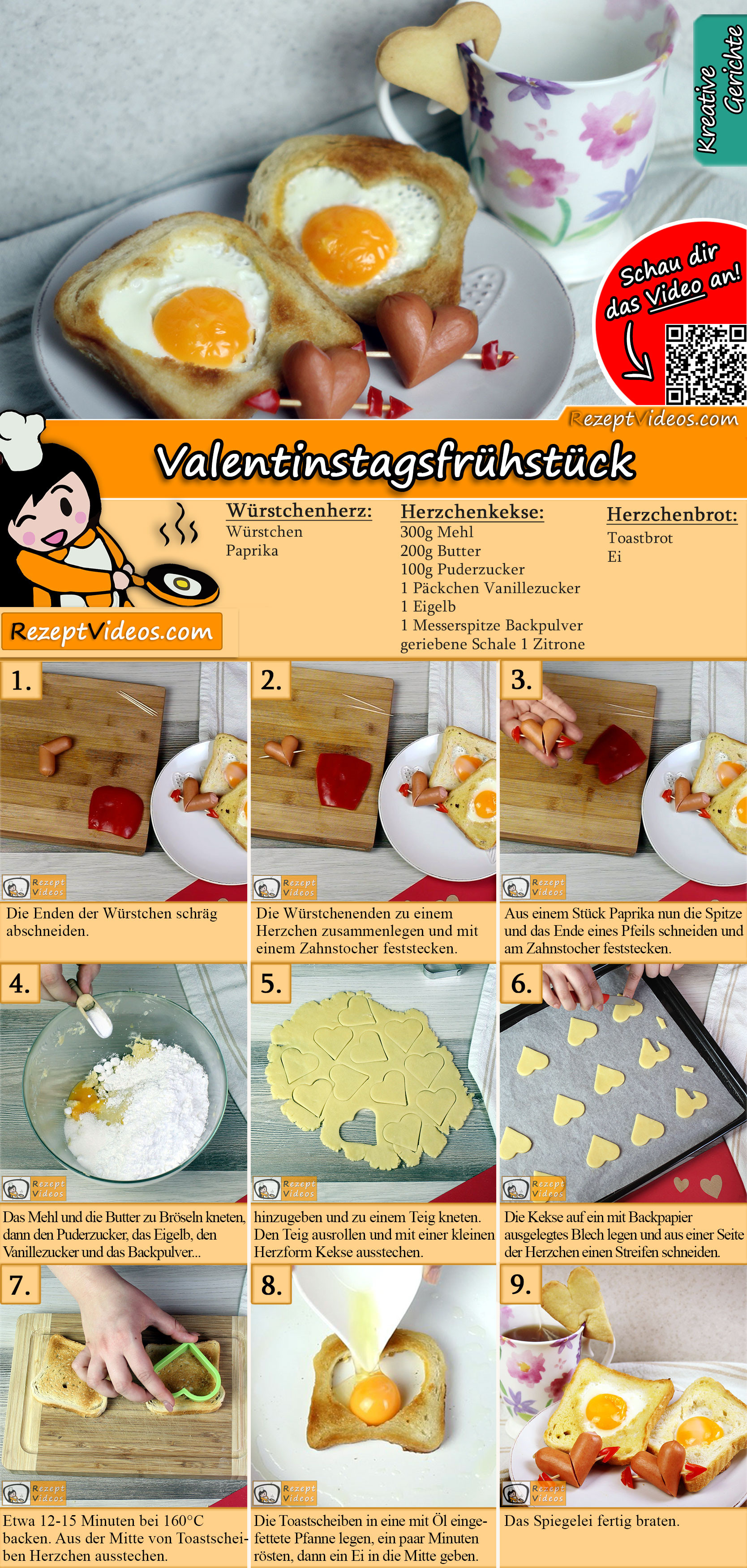 Valentinstagsfrühstück Rezept mit Video